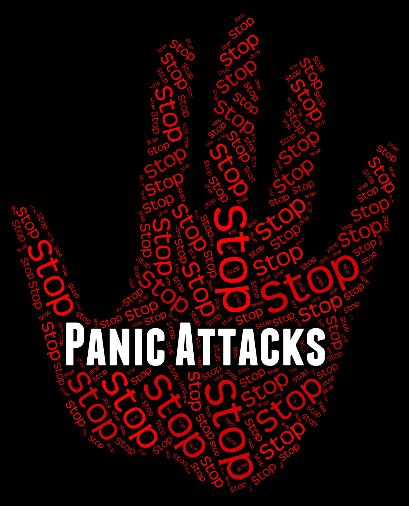 Stop panic shows warning sign and attack photo