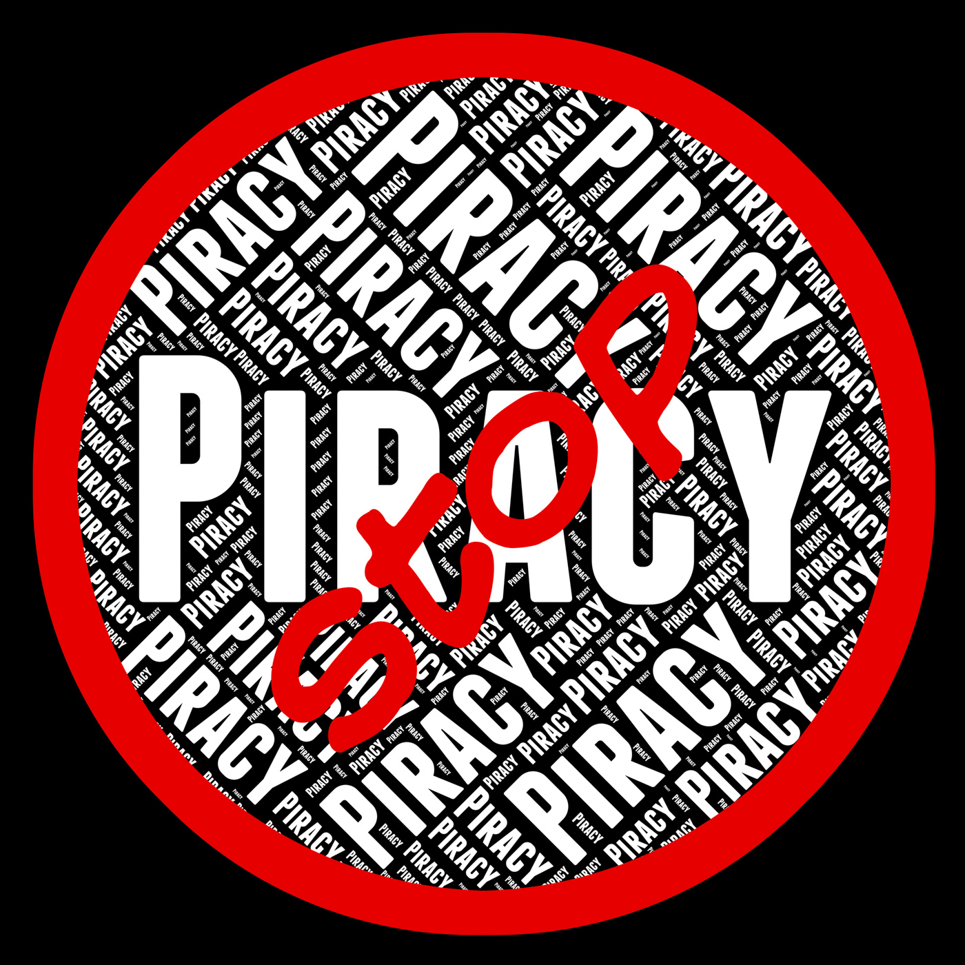 Stop piracy means warning sign and danger photo