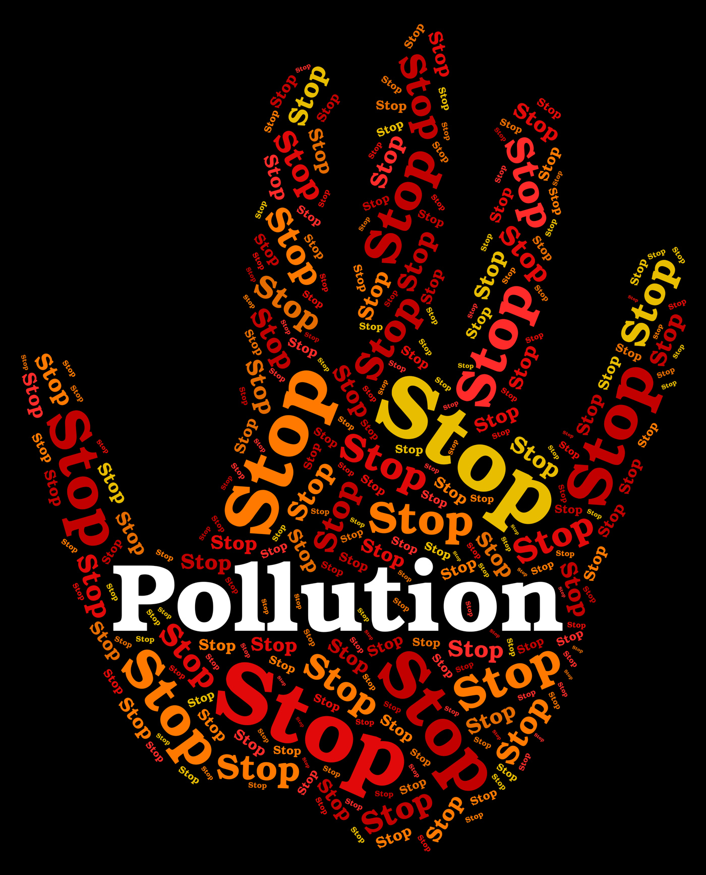 Stop pollution represents air polution and caution photo