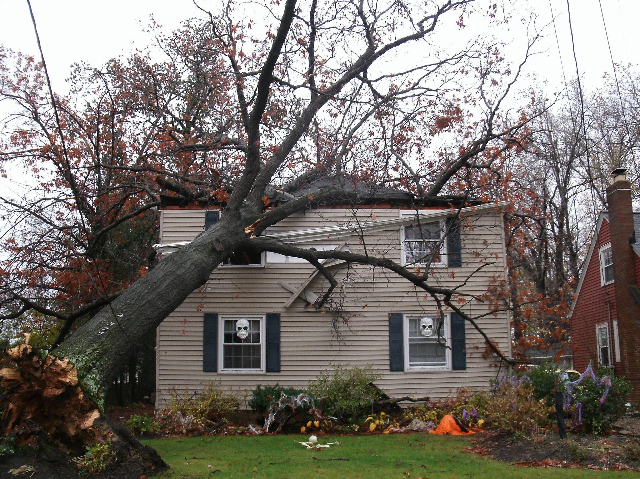 Storm damaged house photo
