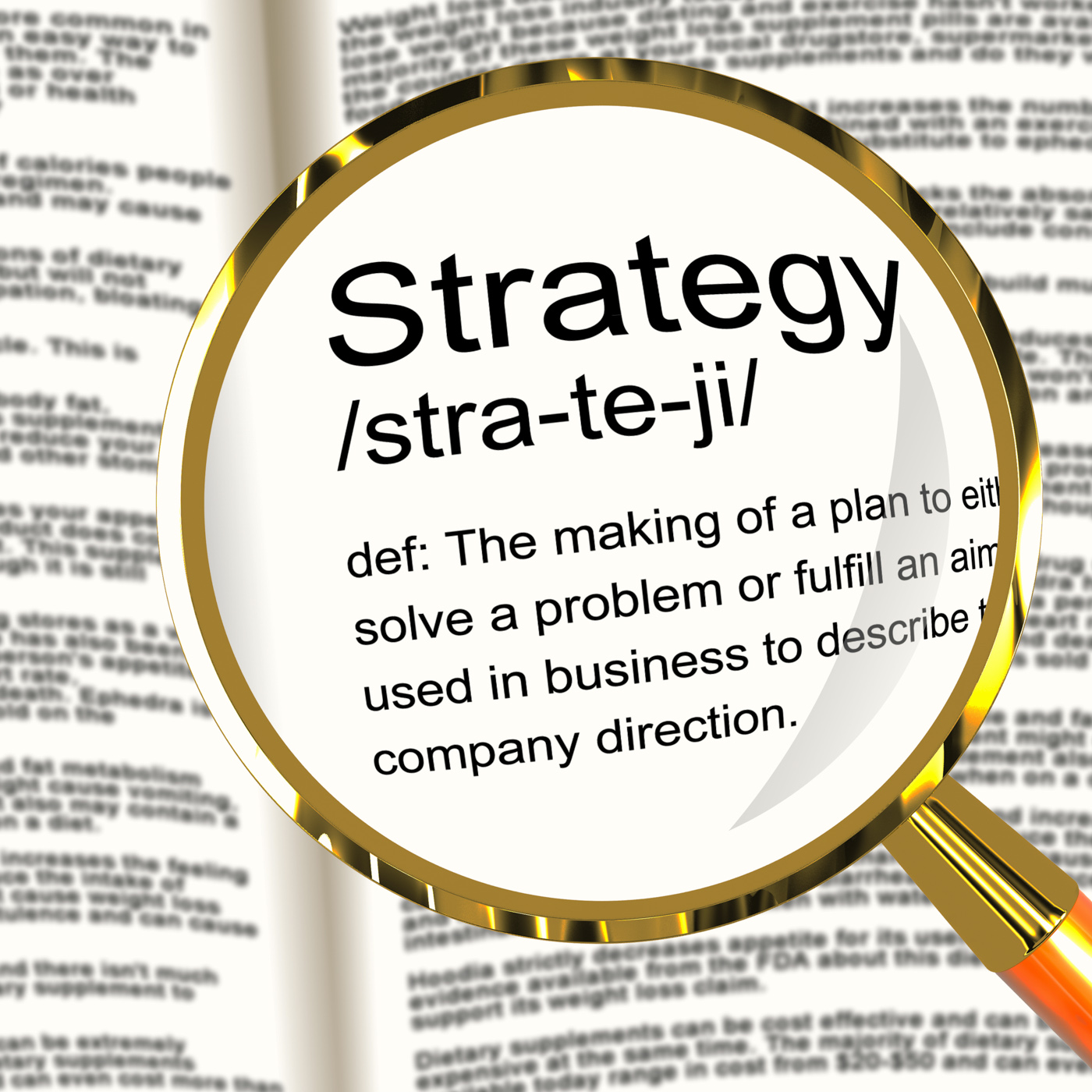 Strategy definition magnifier showing planning organization and leader photo