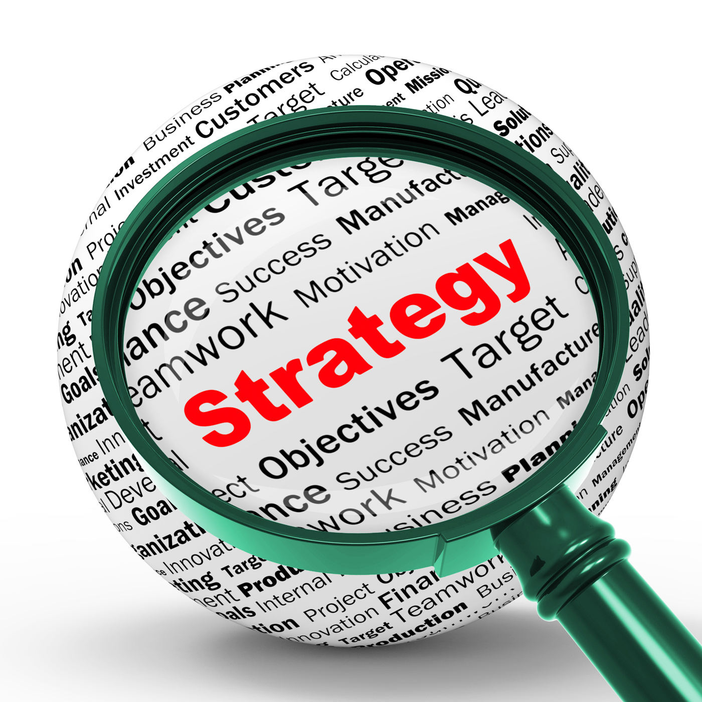 Strategy magnifier definition shows successful planning or management photo