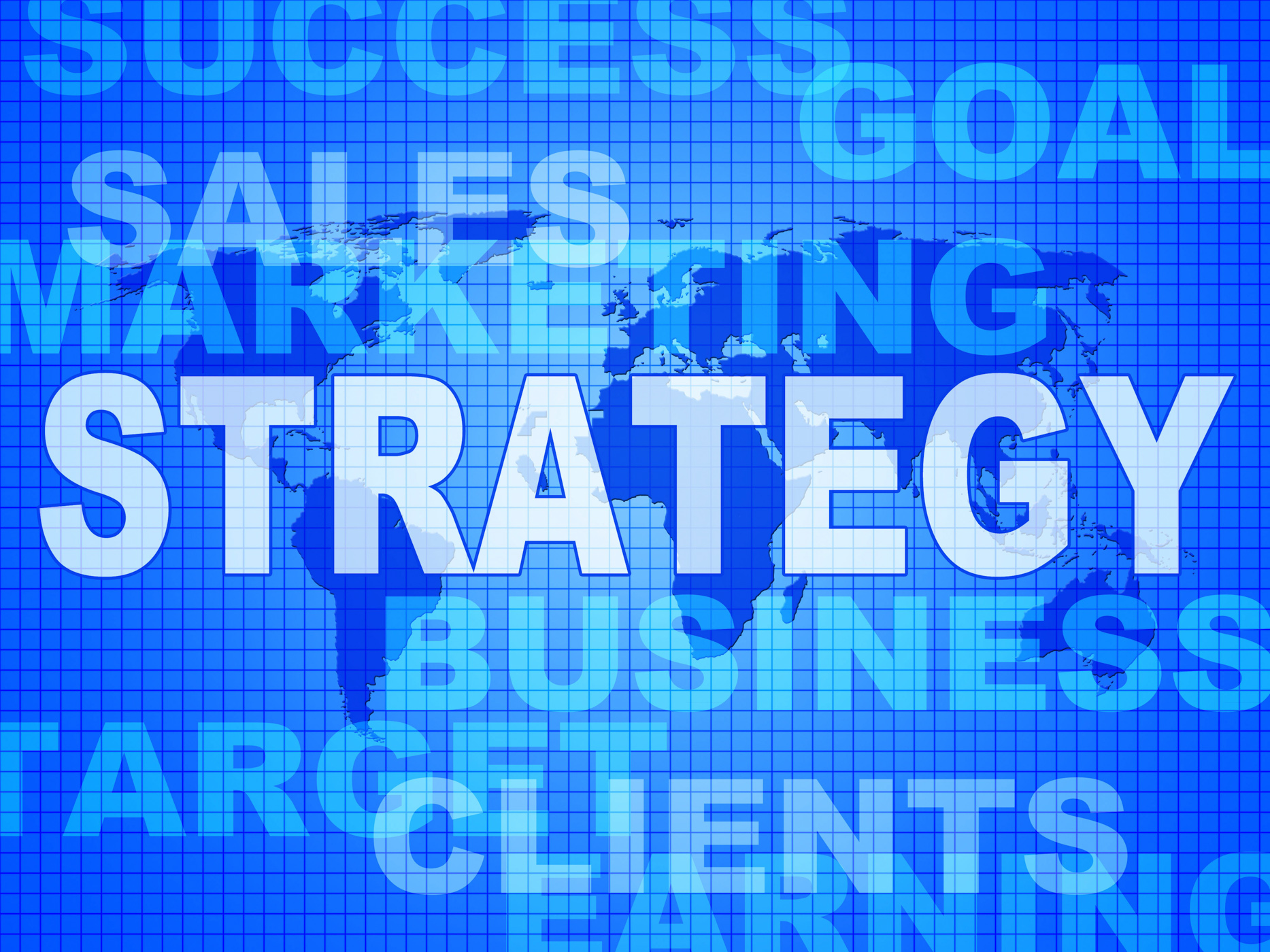 Strategy words indicates solutions vision and trade photo