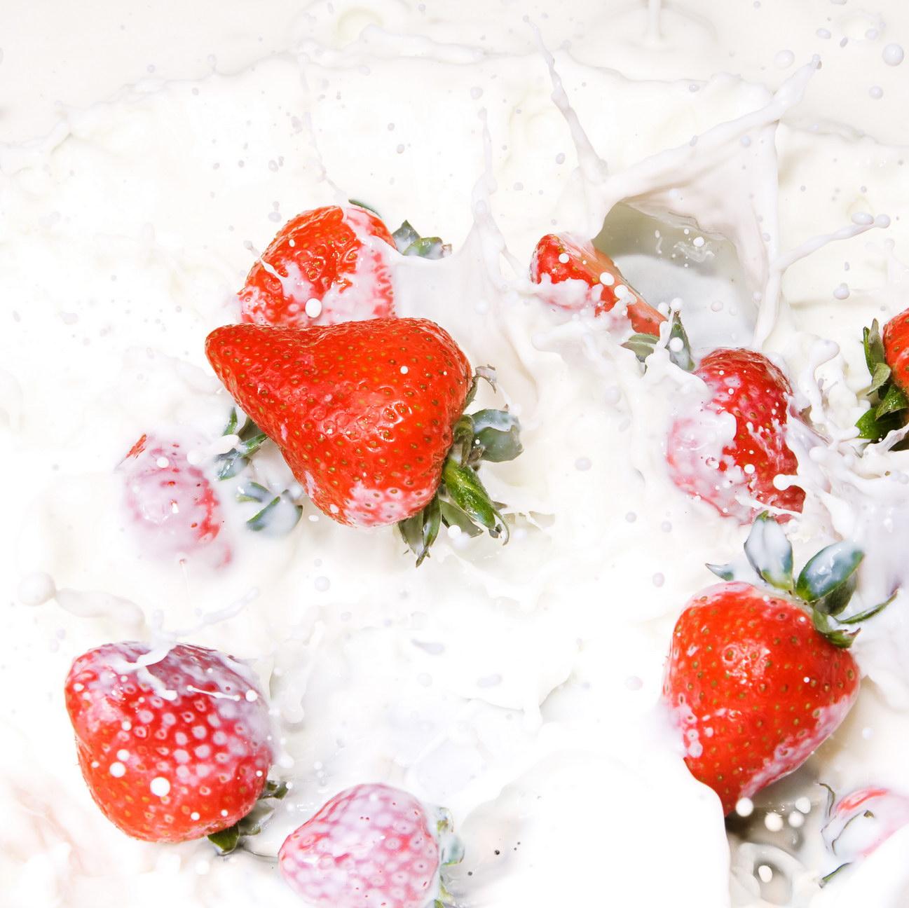 Strawberries in milk photo