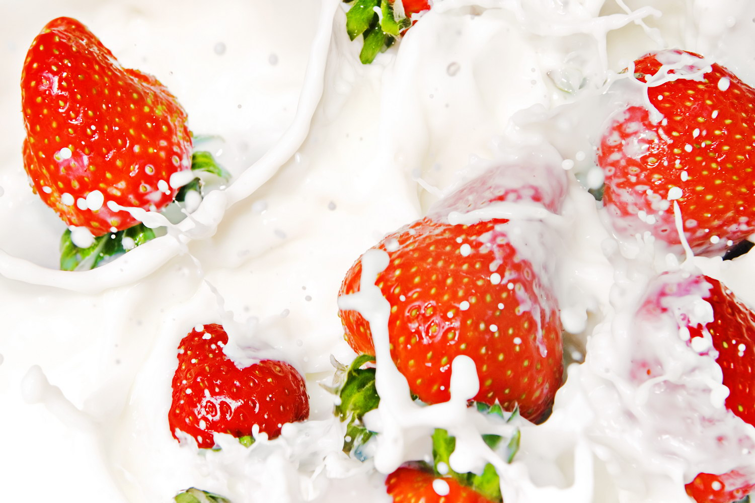 Strawberries in milk, Berry, Snack, Nature, Nutrition, HQ Photo