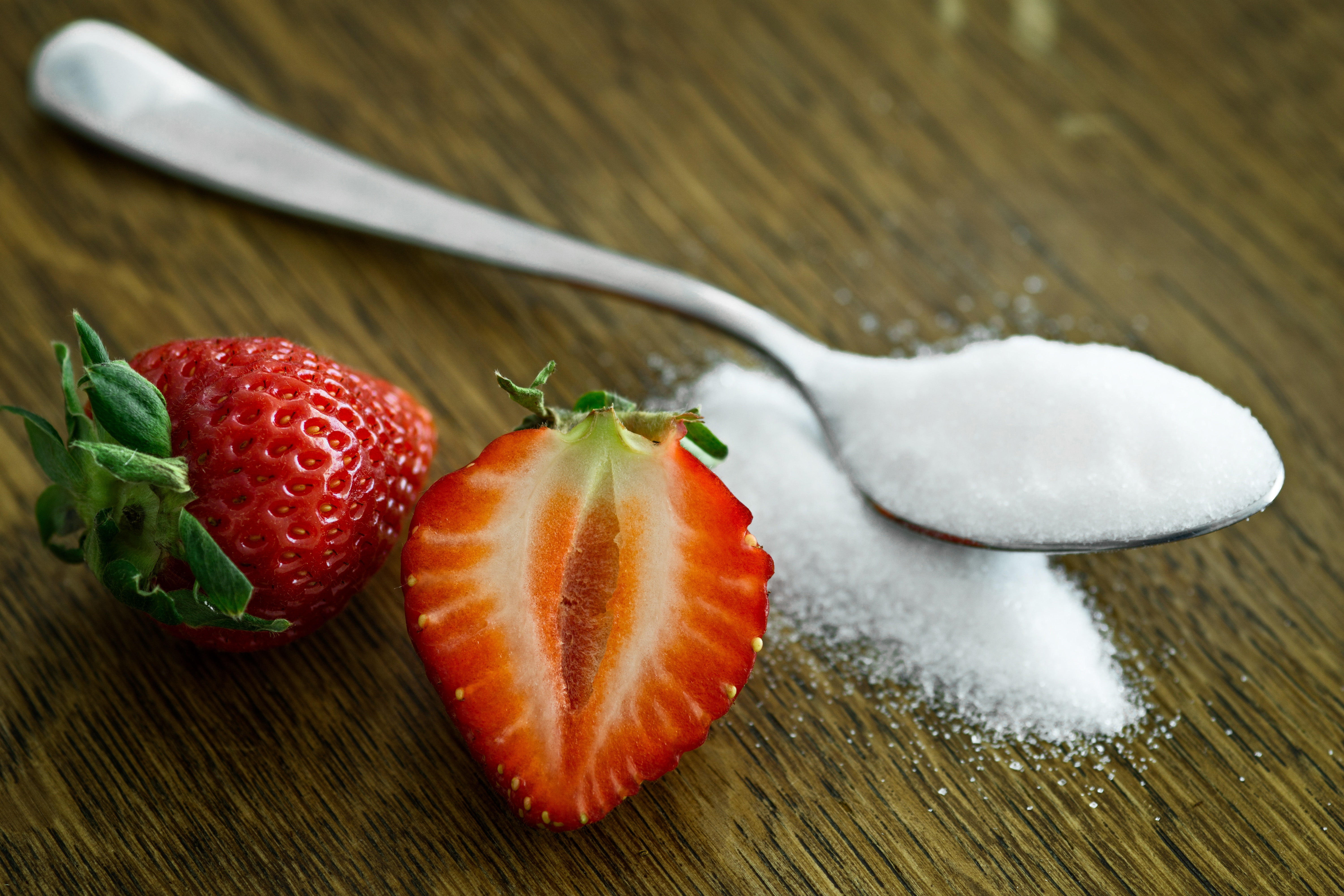 Strawberry Beside Spoon of Sugar, Still life, Strawberries, Spoon, Sliced, HQ Photo