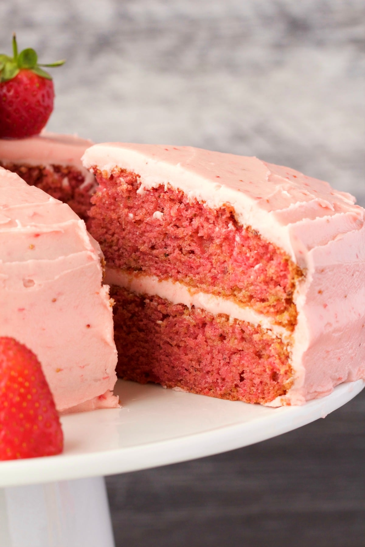 Vegan Strawberry Cake with Strawberry Frosting - Loving It Vegan