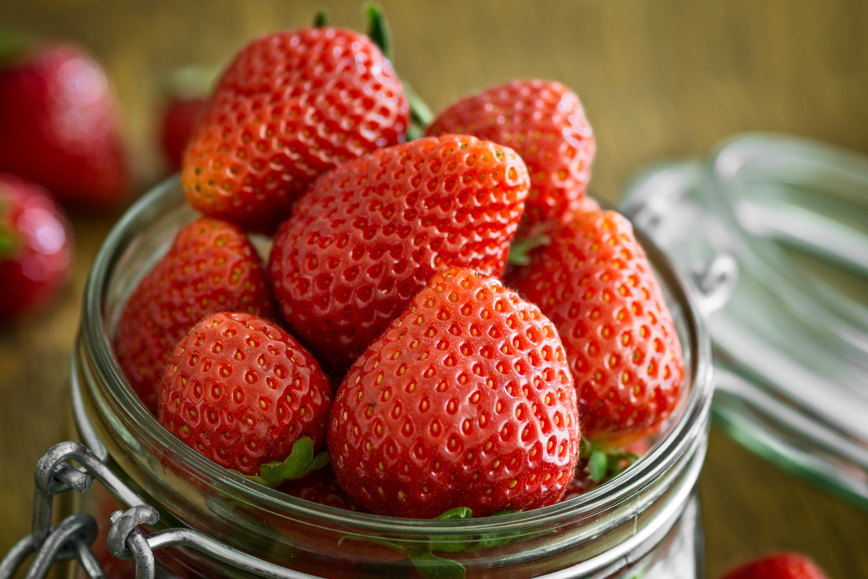 Strawberry in Glass Fido Jar, Berries, Vitamins, Sweet, Summer, HQ Photo