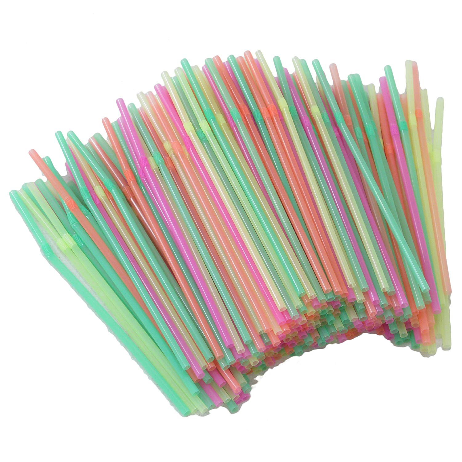 225 multi-coloured flexible plastic drinking straws: Amazon.co.uk ...