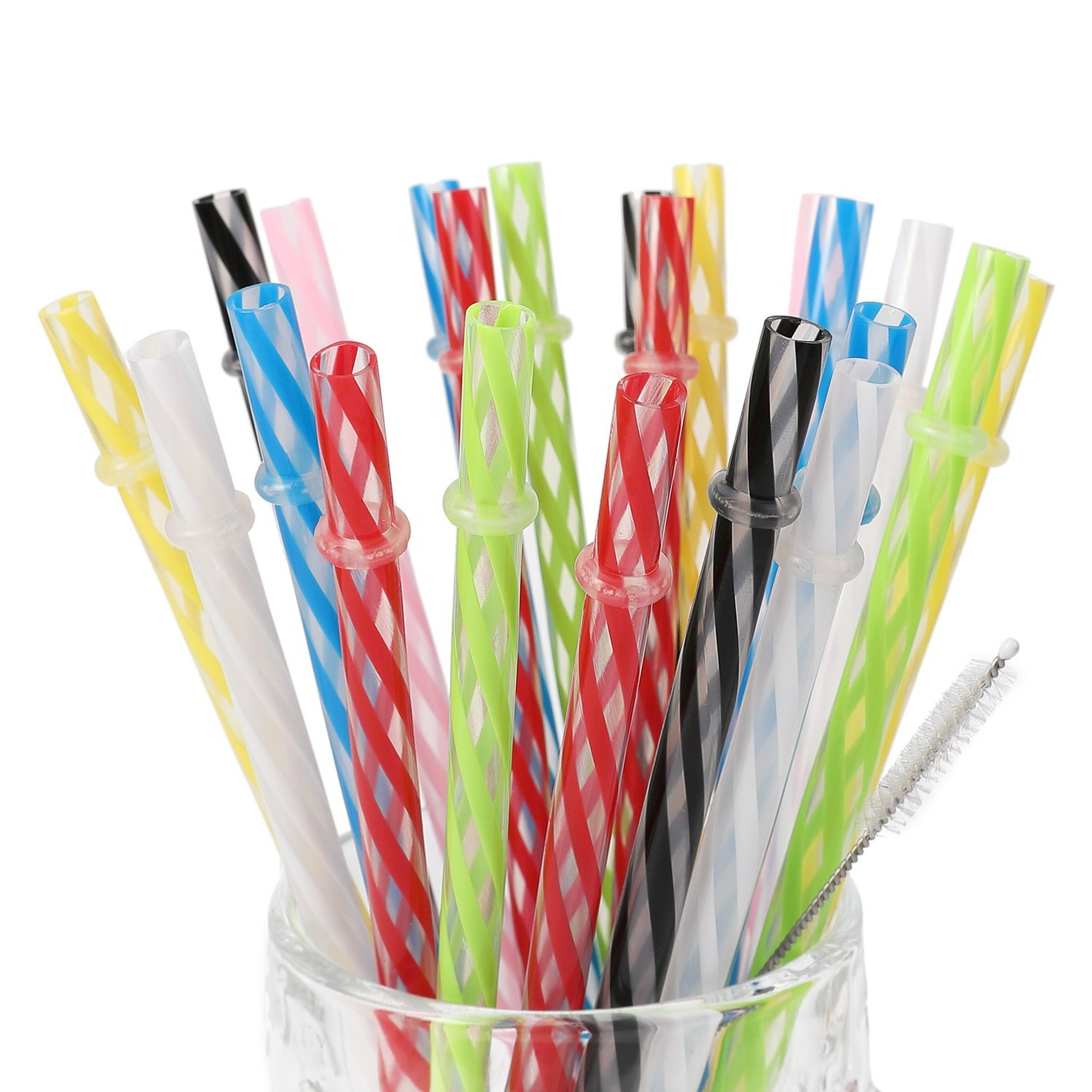 25 Pieces Reusable Plastic Straws. BPA-Free, 9 Inch Long Drinking ...