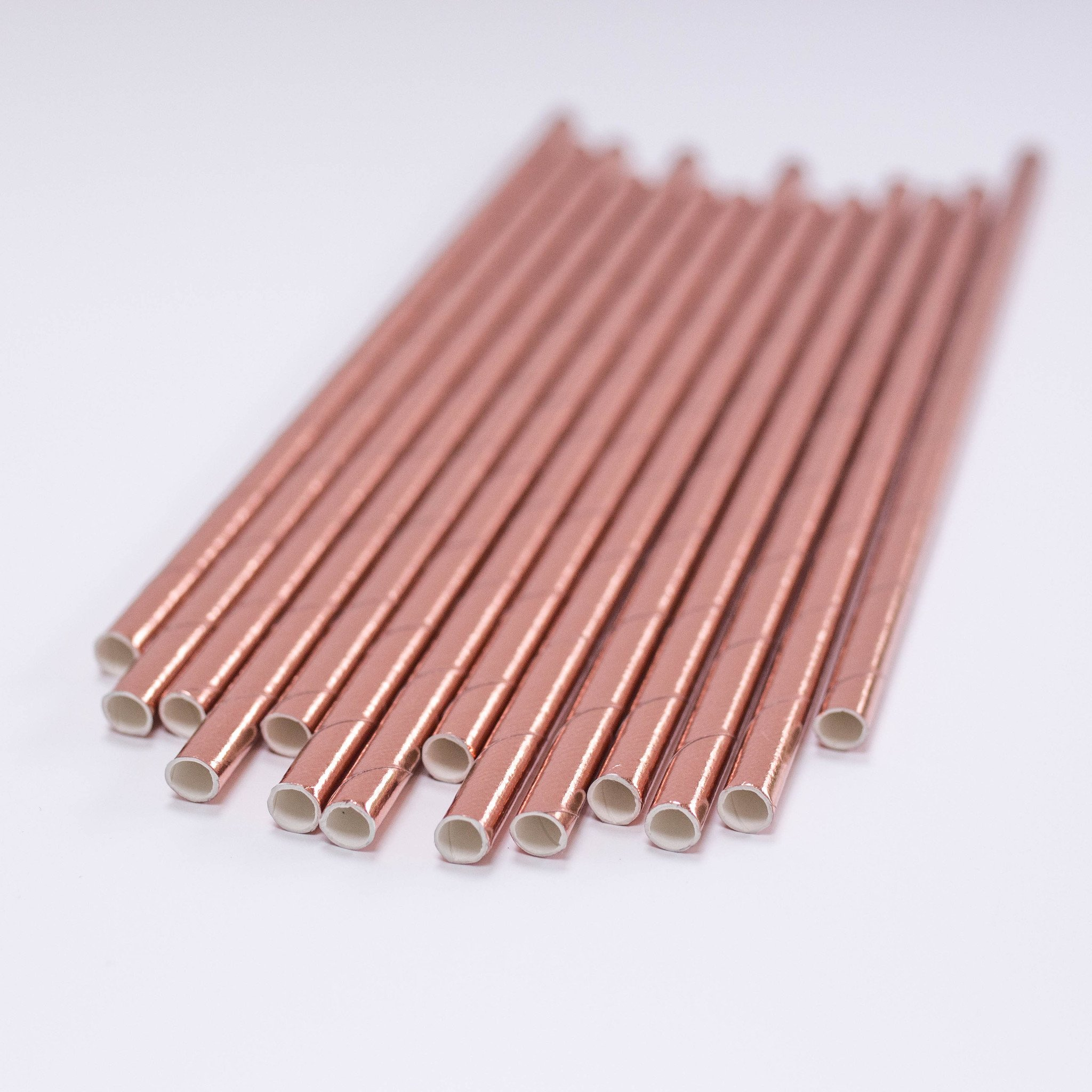 Paper Straws Foil Rose Gold - Pretty Little Party Shop