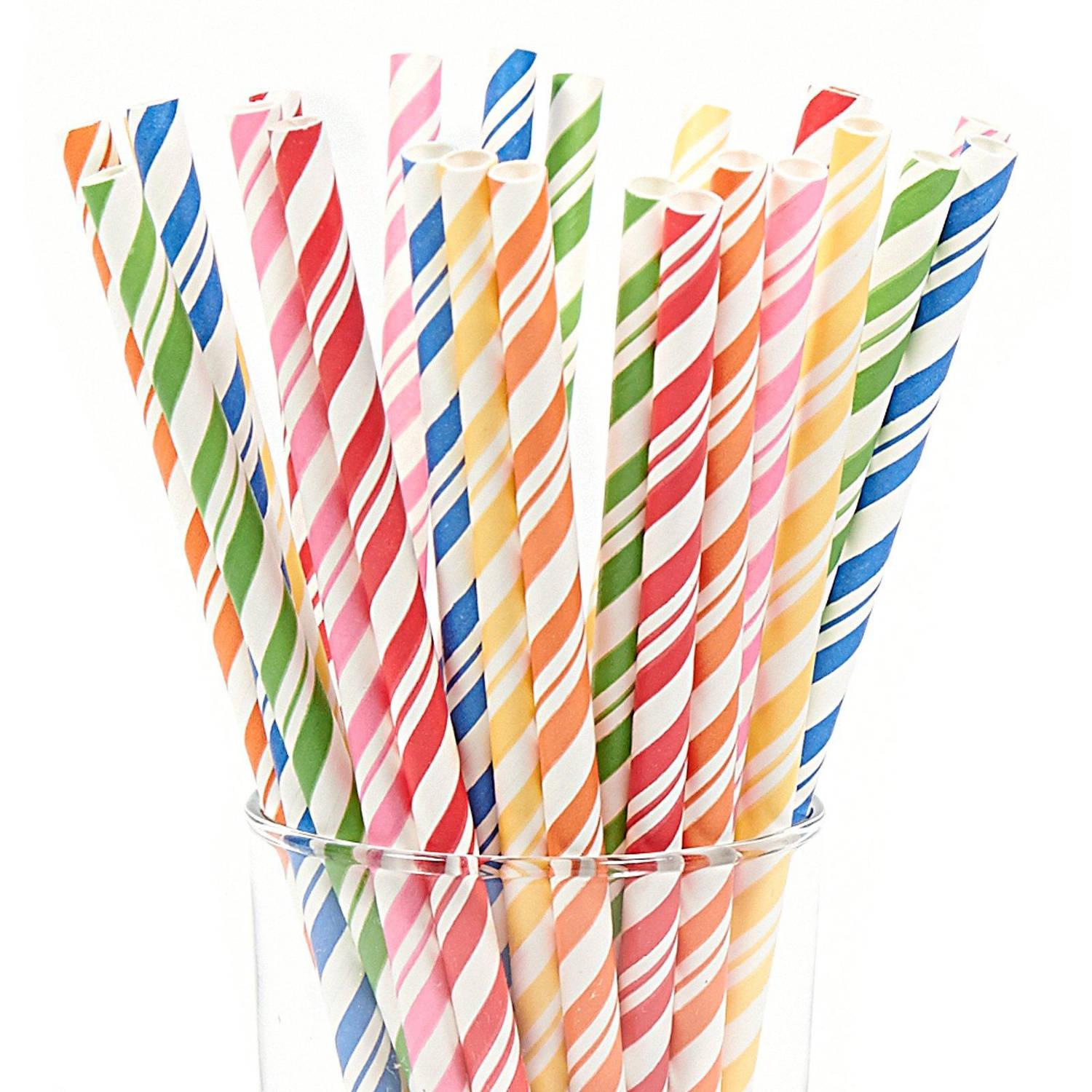 Assorted Striped Paper Straws - Walmart.com