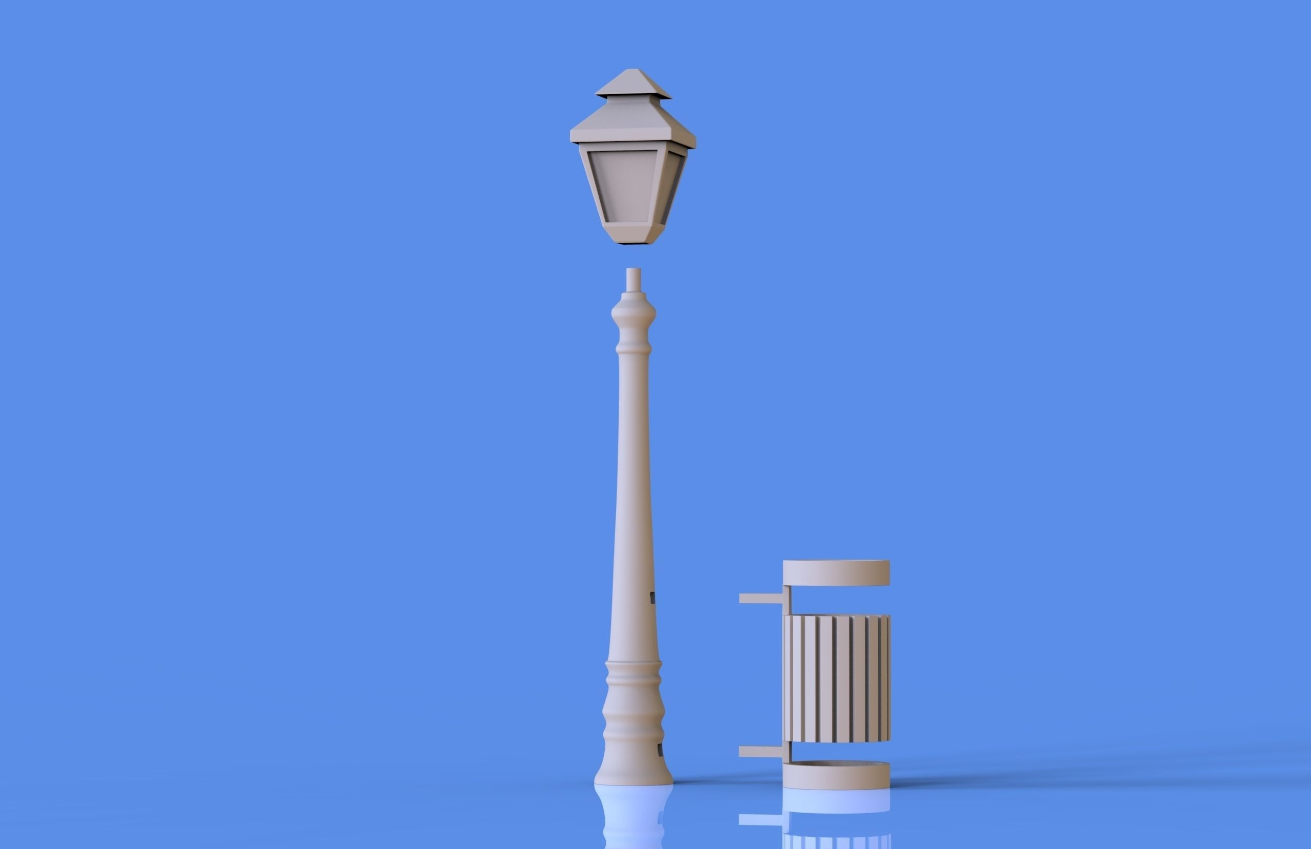 Street Lamp and Bin Pencil Pen Holder 3D printable model