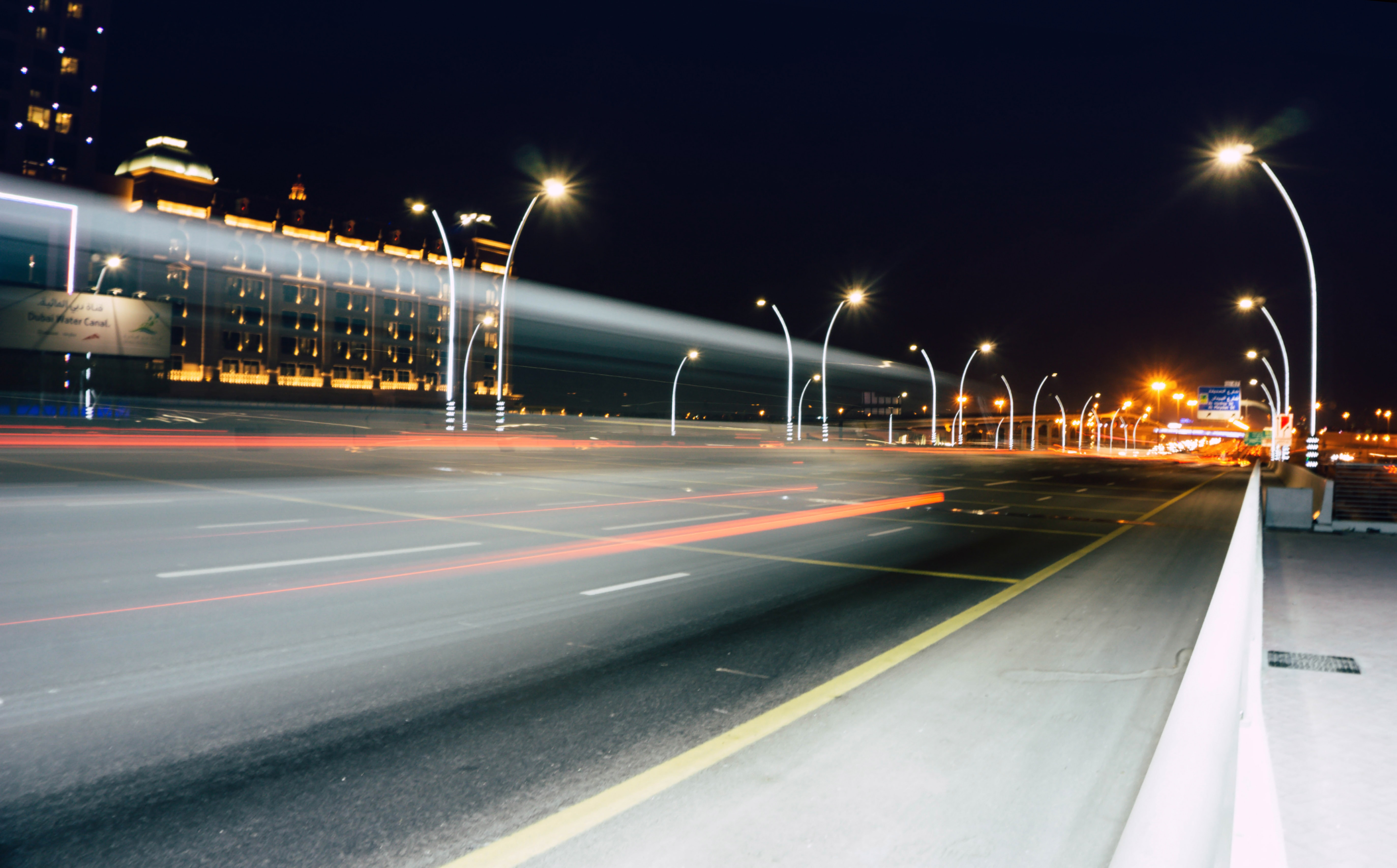Street lights during nighttime photo