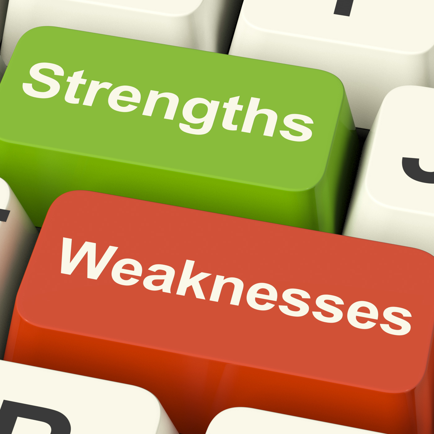 Strengths and weaknesses computer keys showing performance or analyzin photo