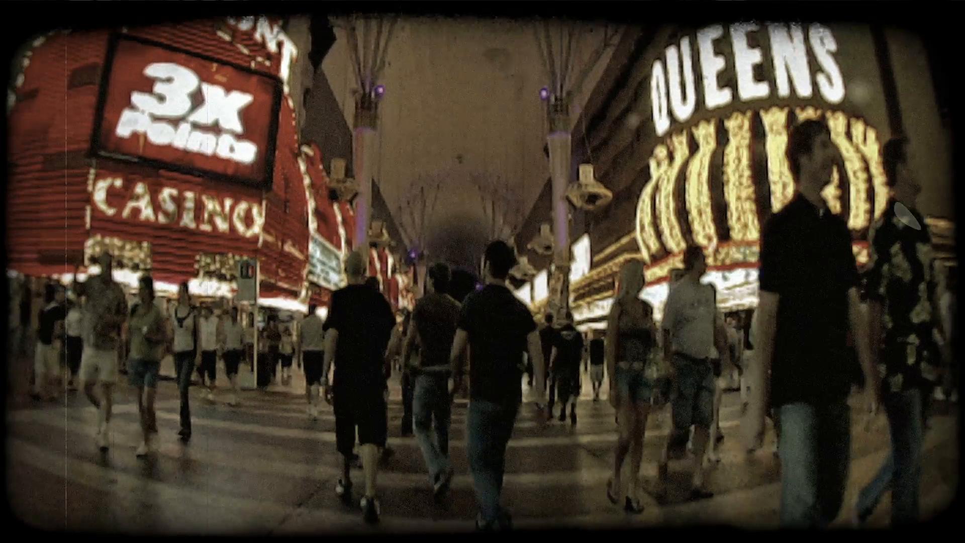Vegas crosswalk. Vintage stylized video clip. Stock Video Footage ...