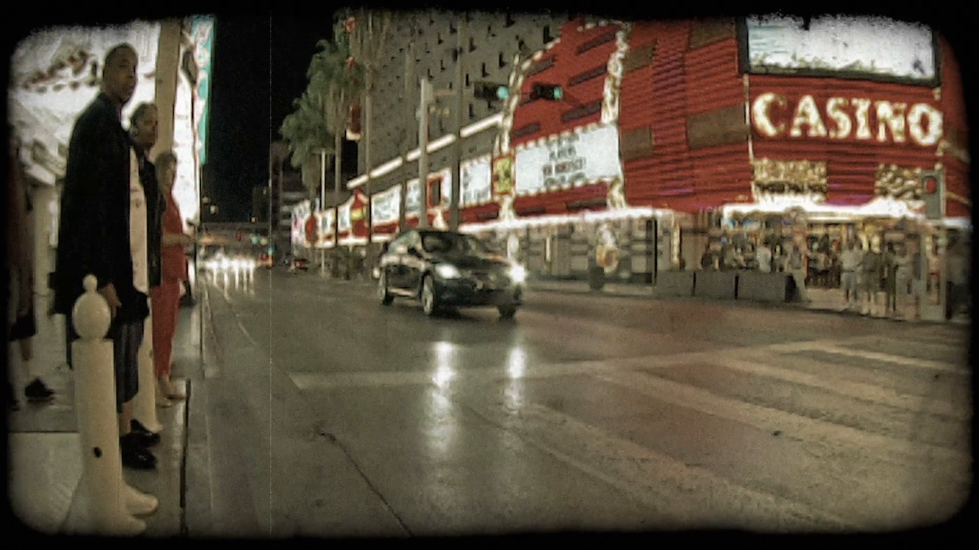 Black car in Las Vegas. Vintage stylized video clip. Stock Video ...