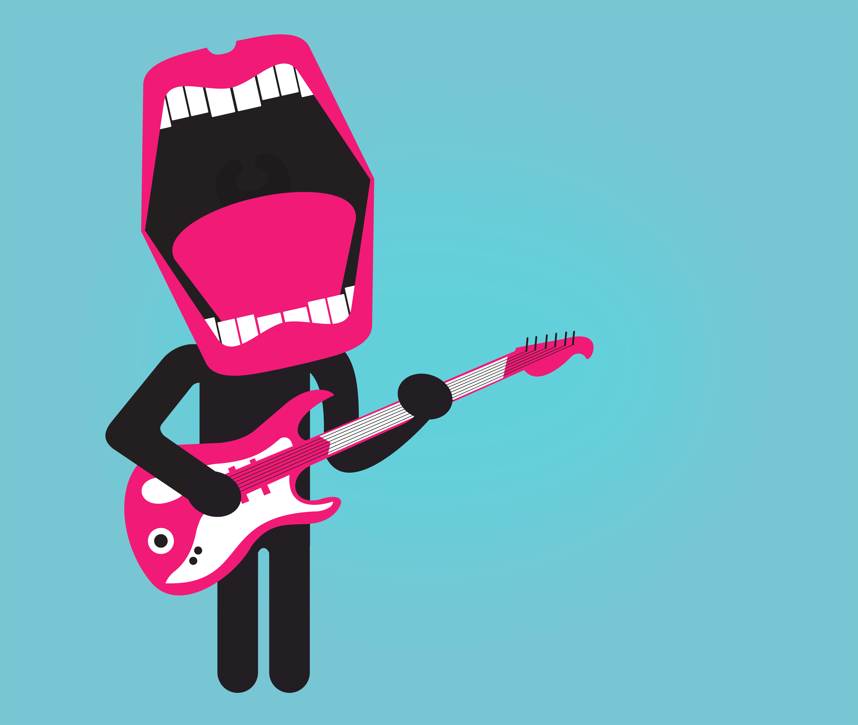 Stylized singer playing electric guitar photo