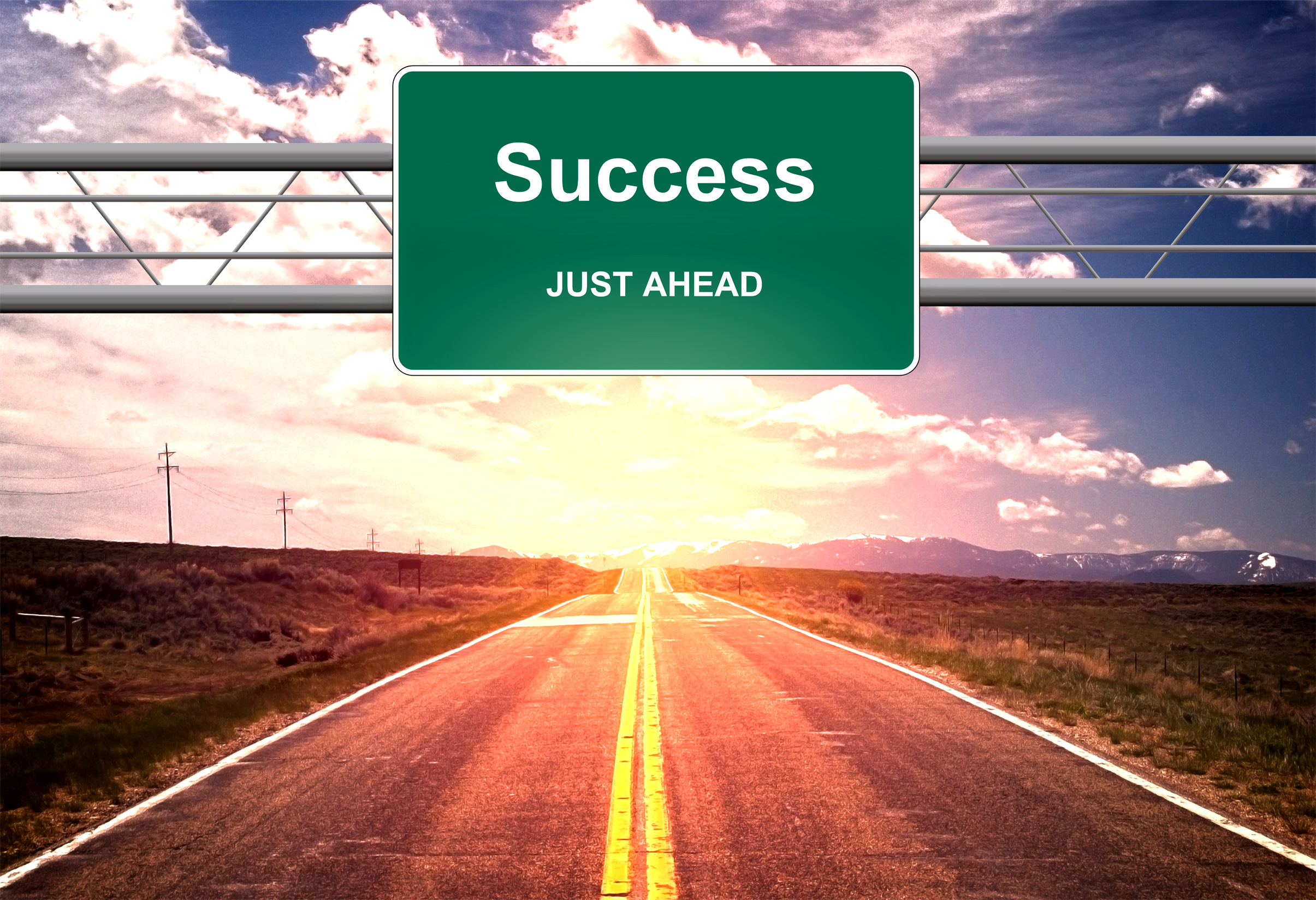 Success just ahead road sign - success and successful life concept photo