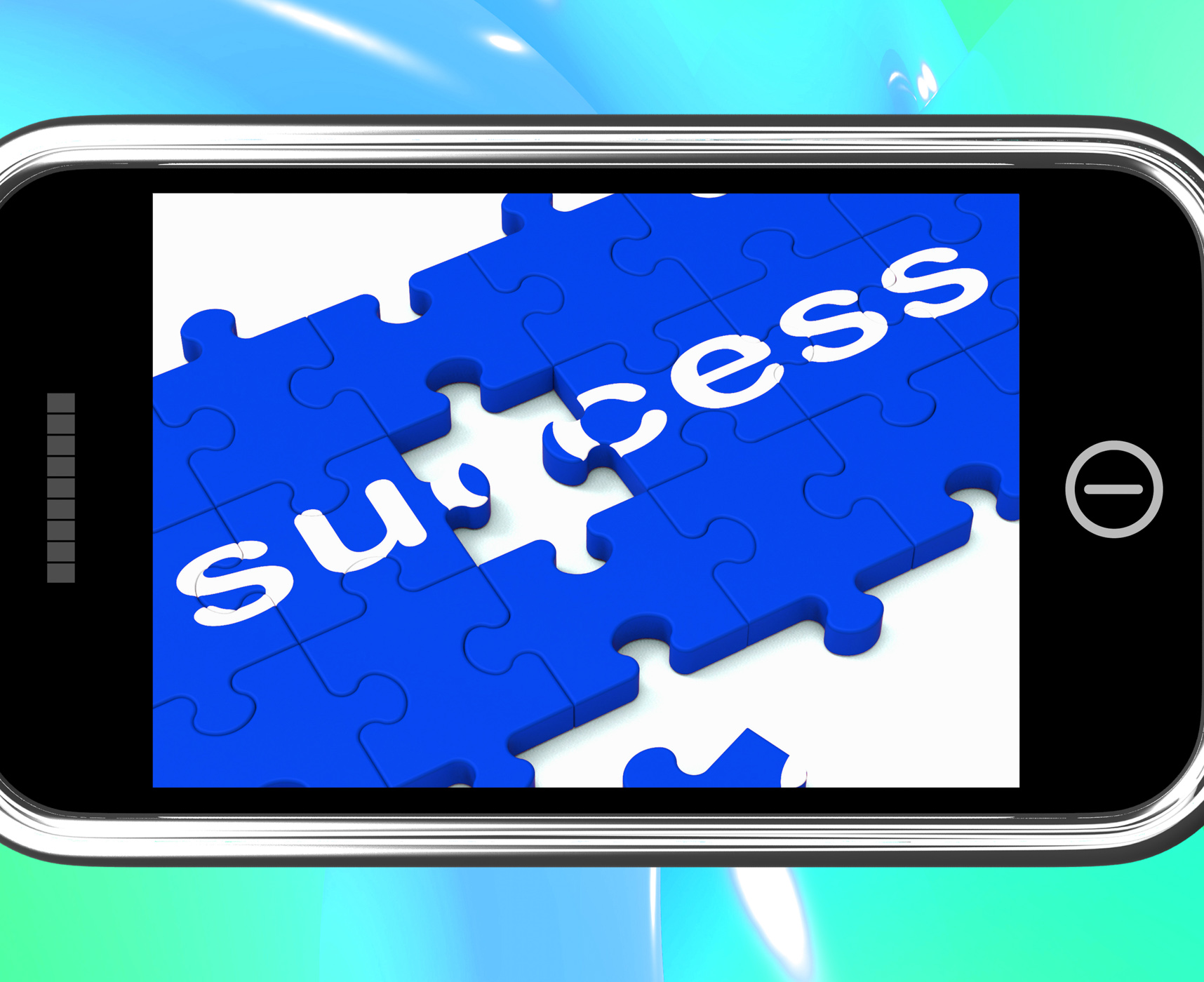 Success on smartphone shows successful solutions photo