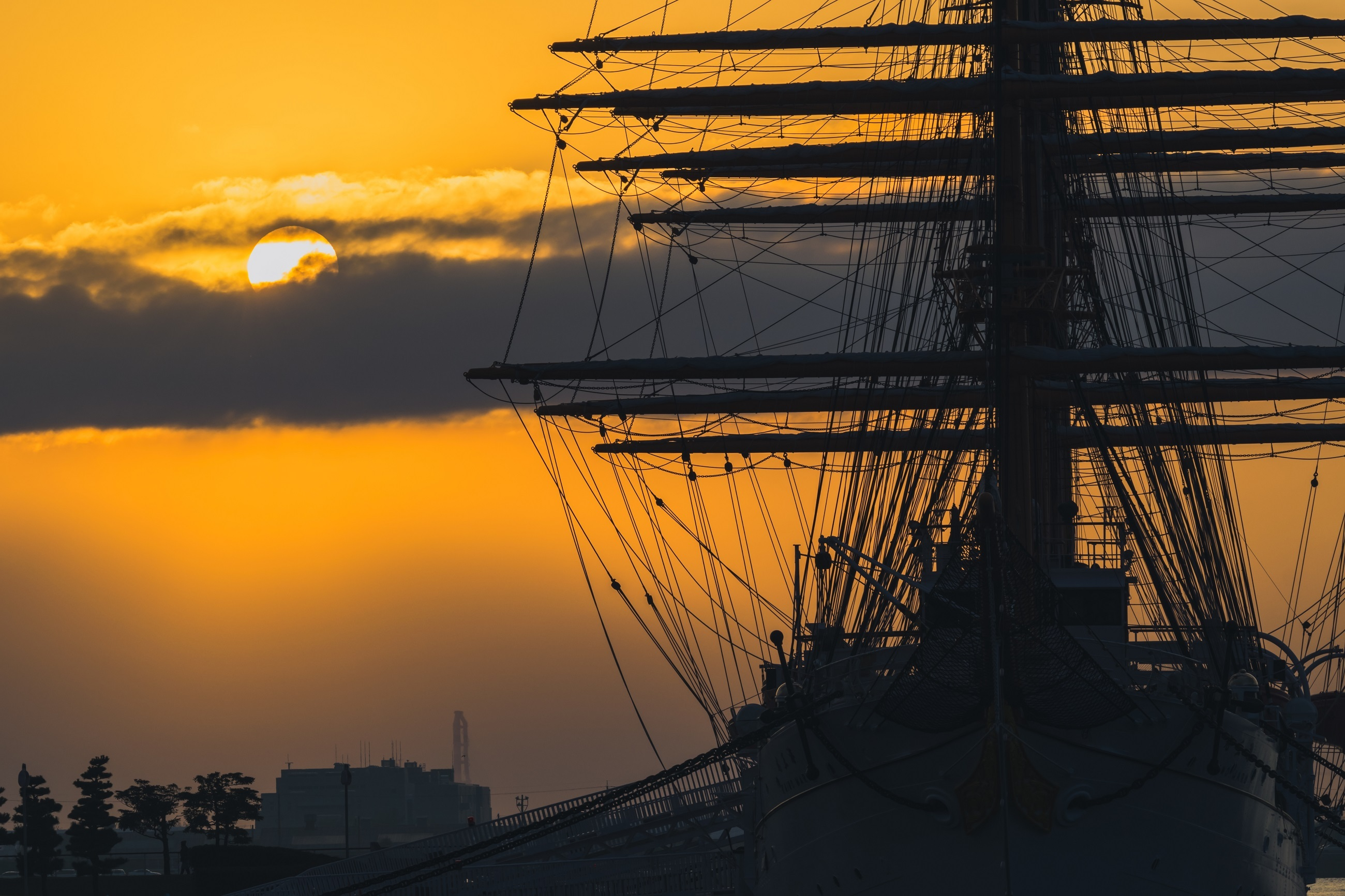 Sun Hiding behind Clouds, Nature, Ship, Sunset, Hide, HQ Photo