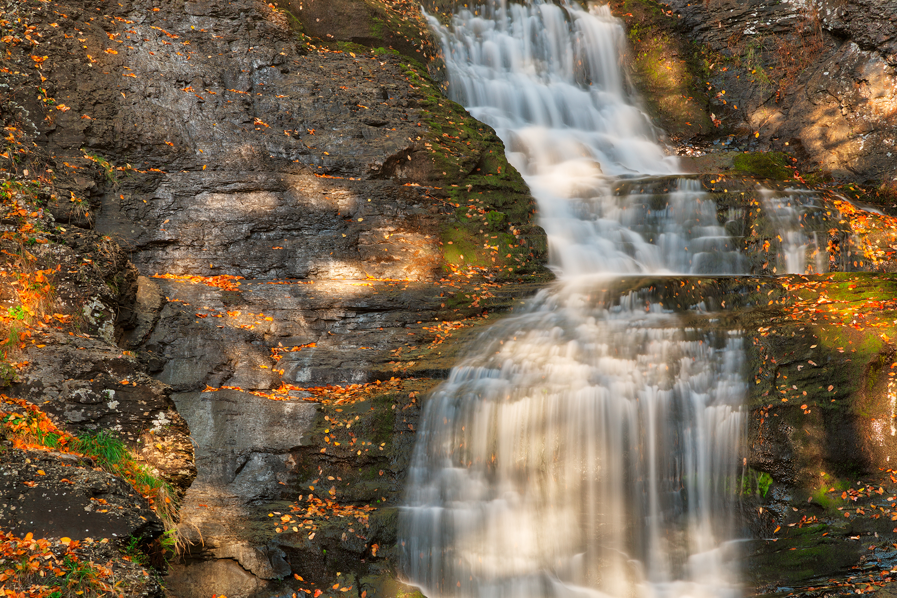 Sunbathed Raymondskill Falls - HDR, America, Pennsylvania, Rocks, Rock, HQ Photo