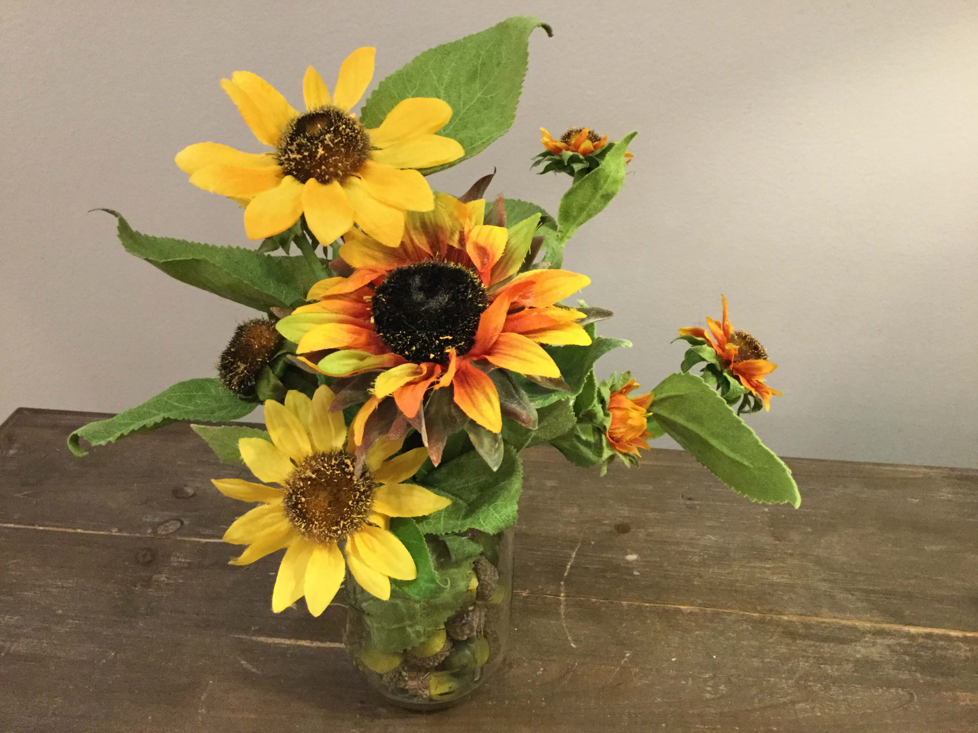Sunflowers in Jar with Acorns - P.S. Flowers and Interiors