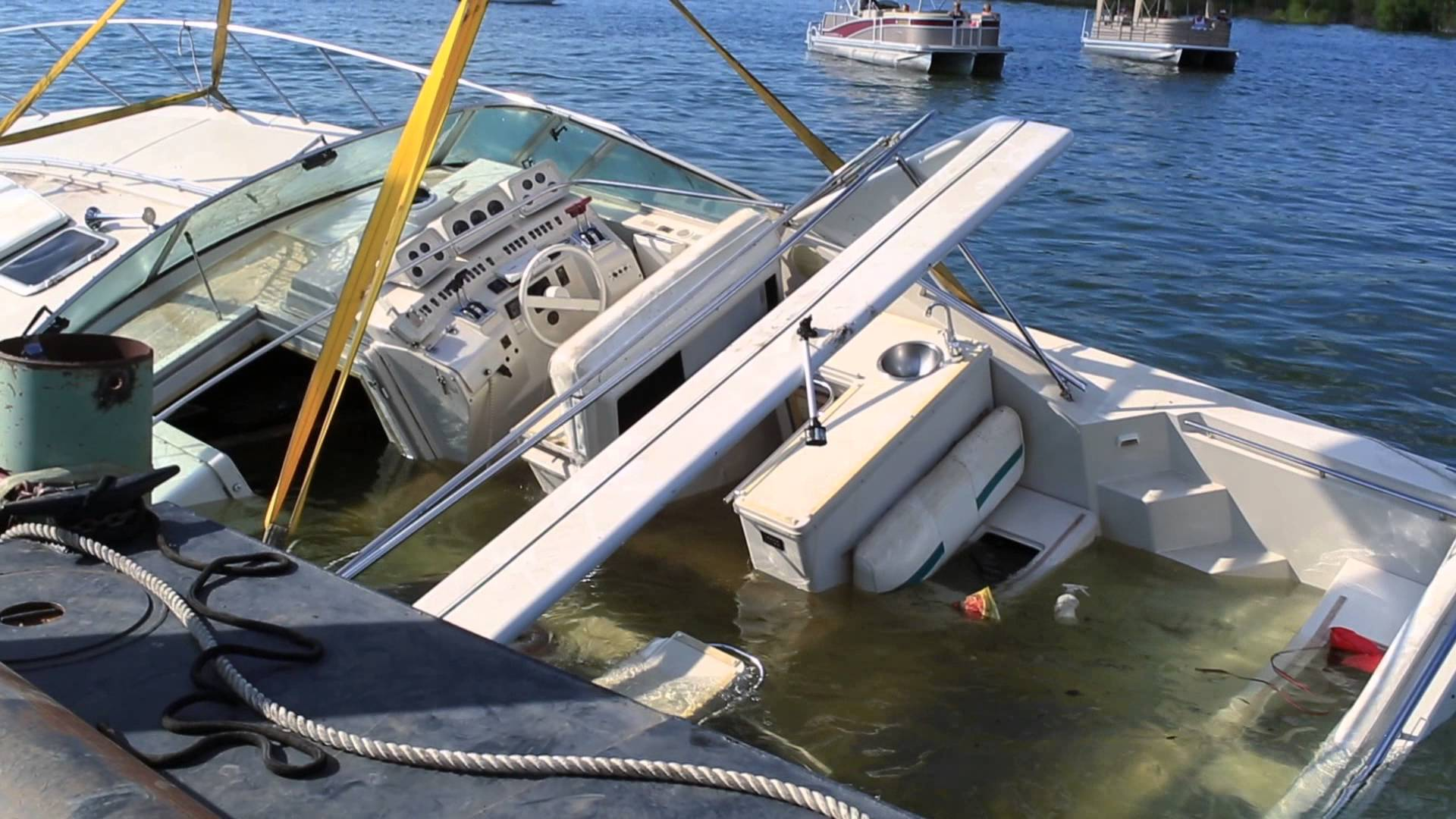 Sunken Boat Recovery: 43ft Cruiser in 150ft deep water - YouTube