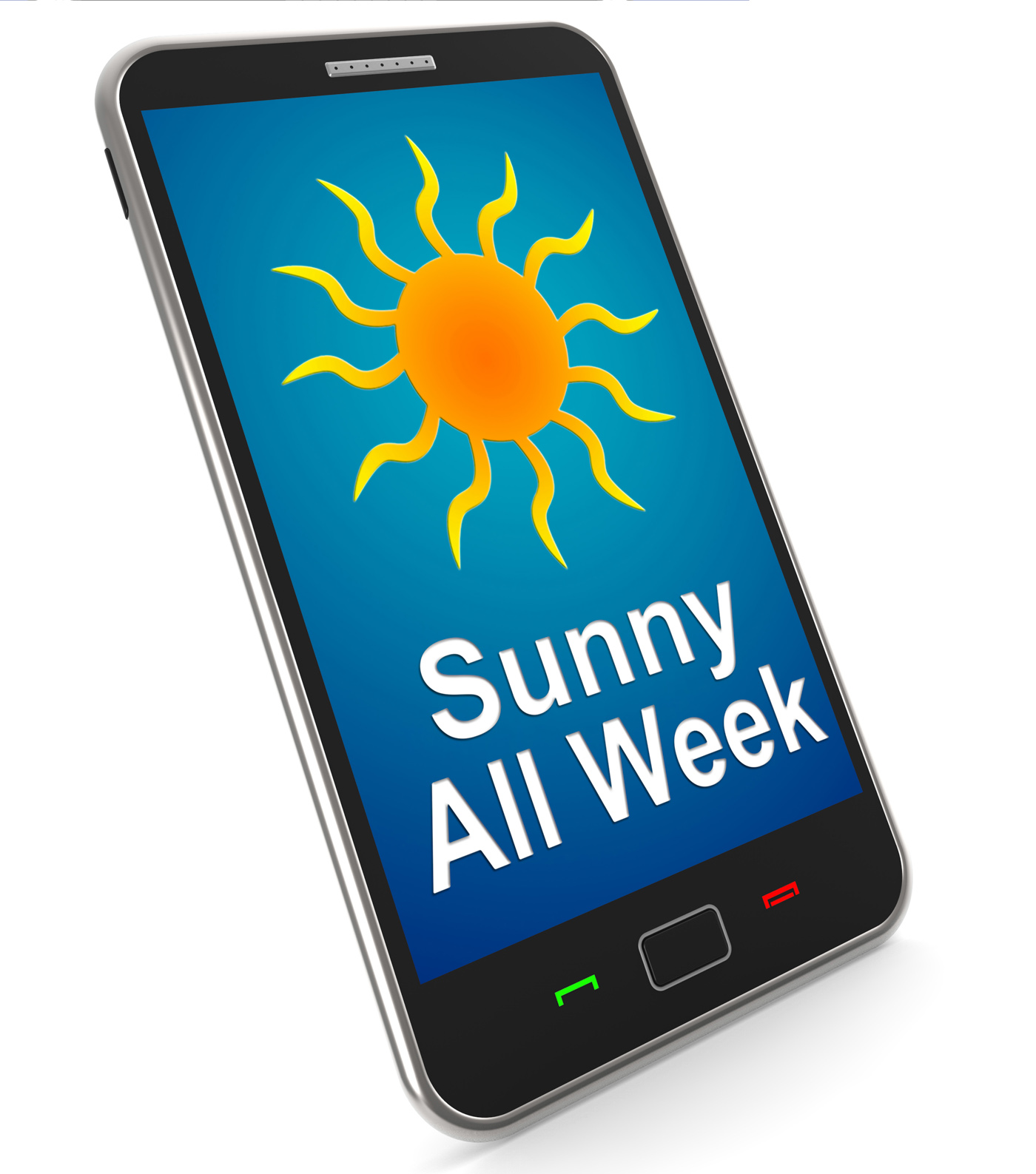 Sunny all week on mobile means hot weather photo