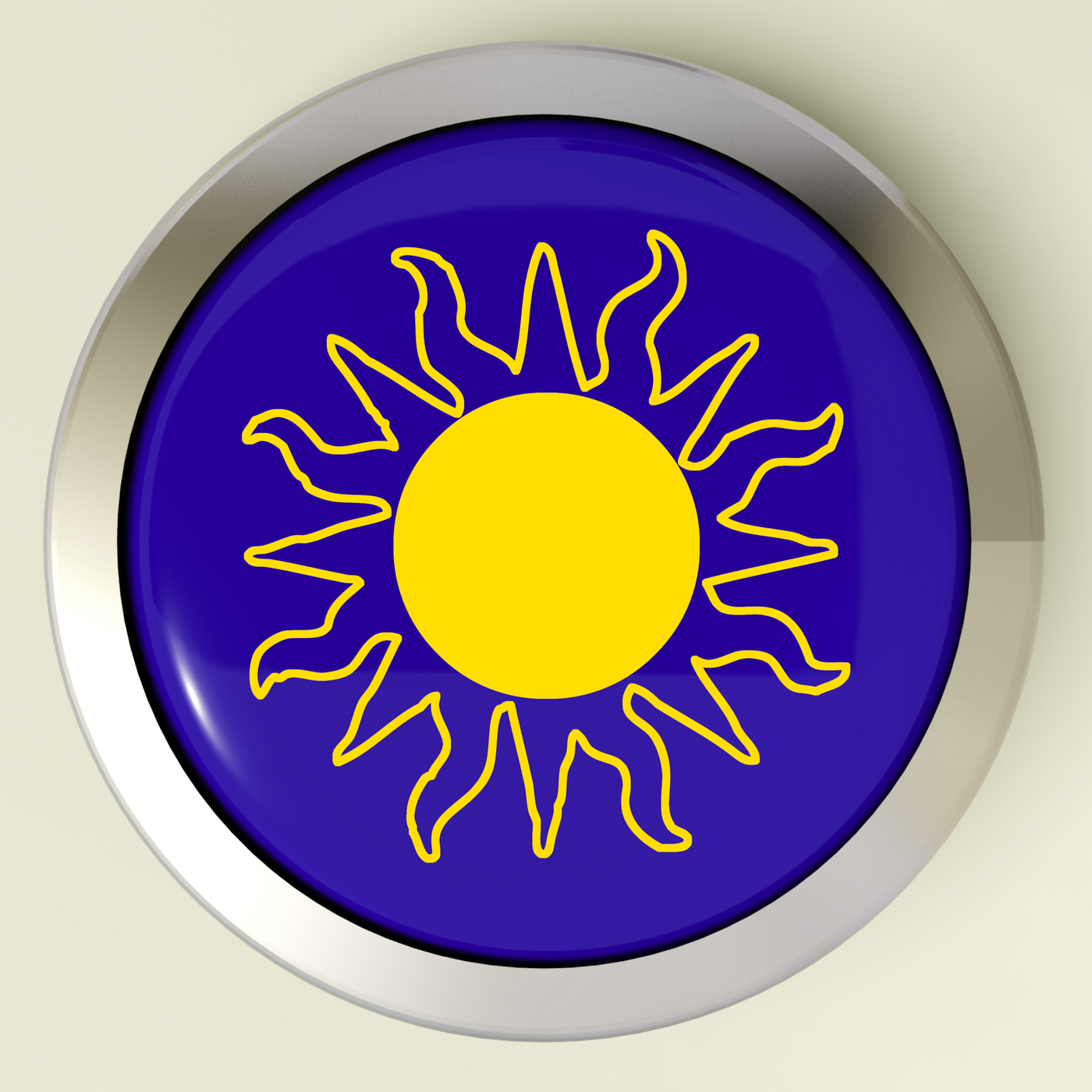 Sunny button means hot weather or sunshine photo