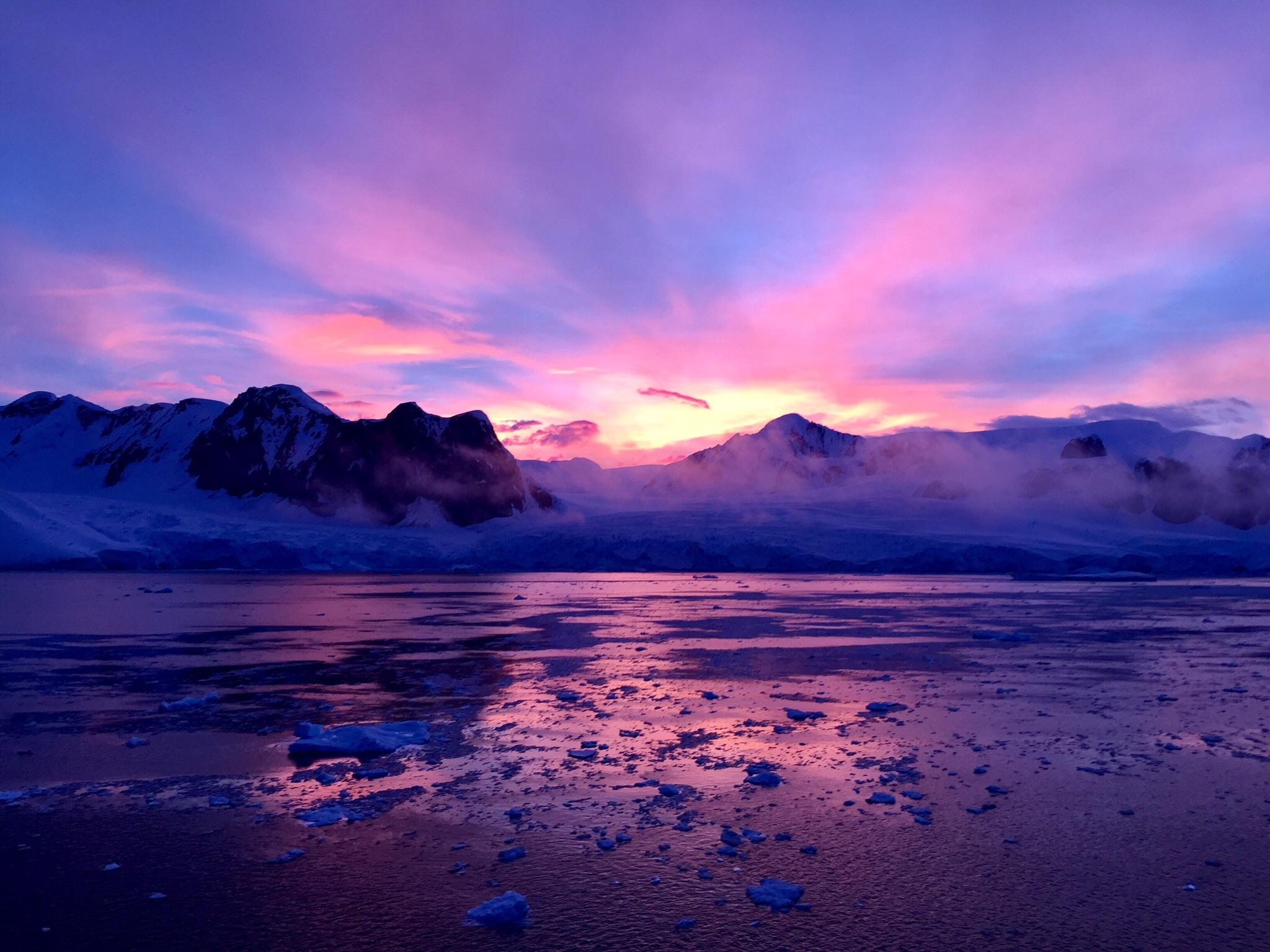 Early morning sunrise in Antarctica : travel