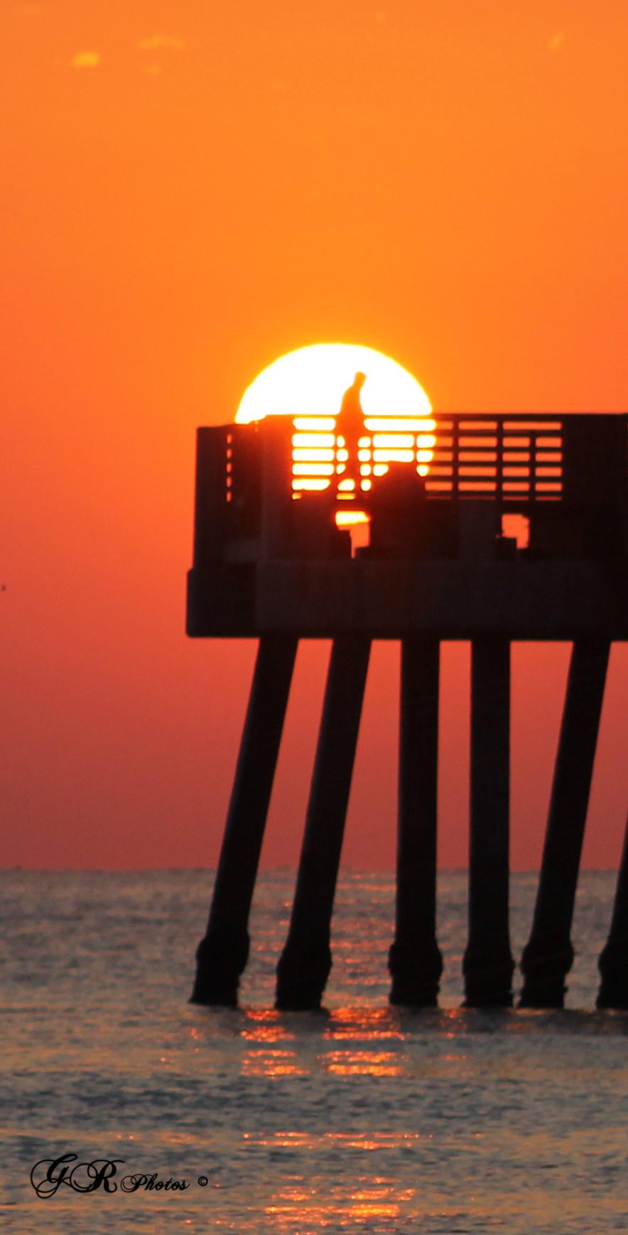 Sunrise, Ocean, Pier, Sea, Sun, HQ Photo