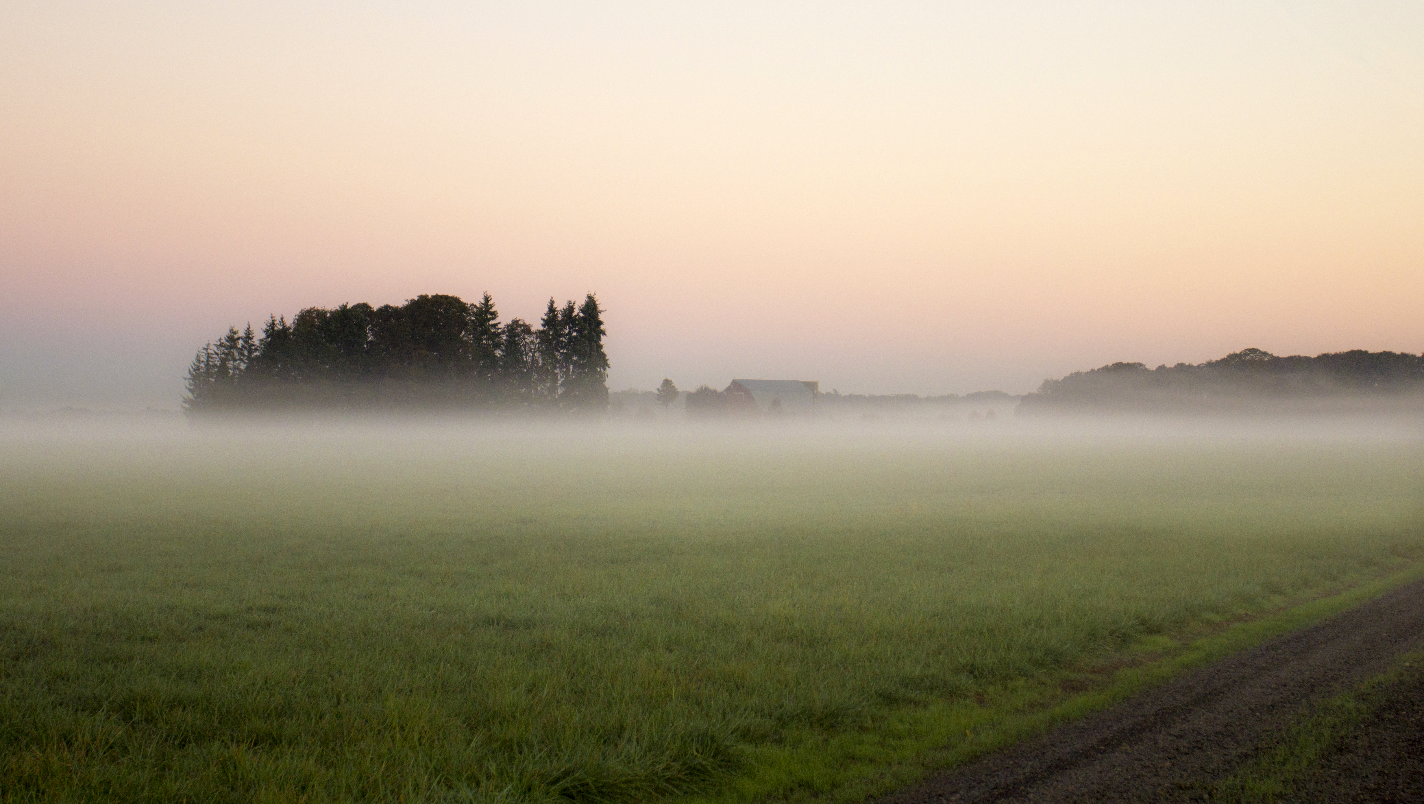 Sunrise and fog, Willamette Valley, Oregon, Autumn, Barn, Field, Fog, HQ Photo