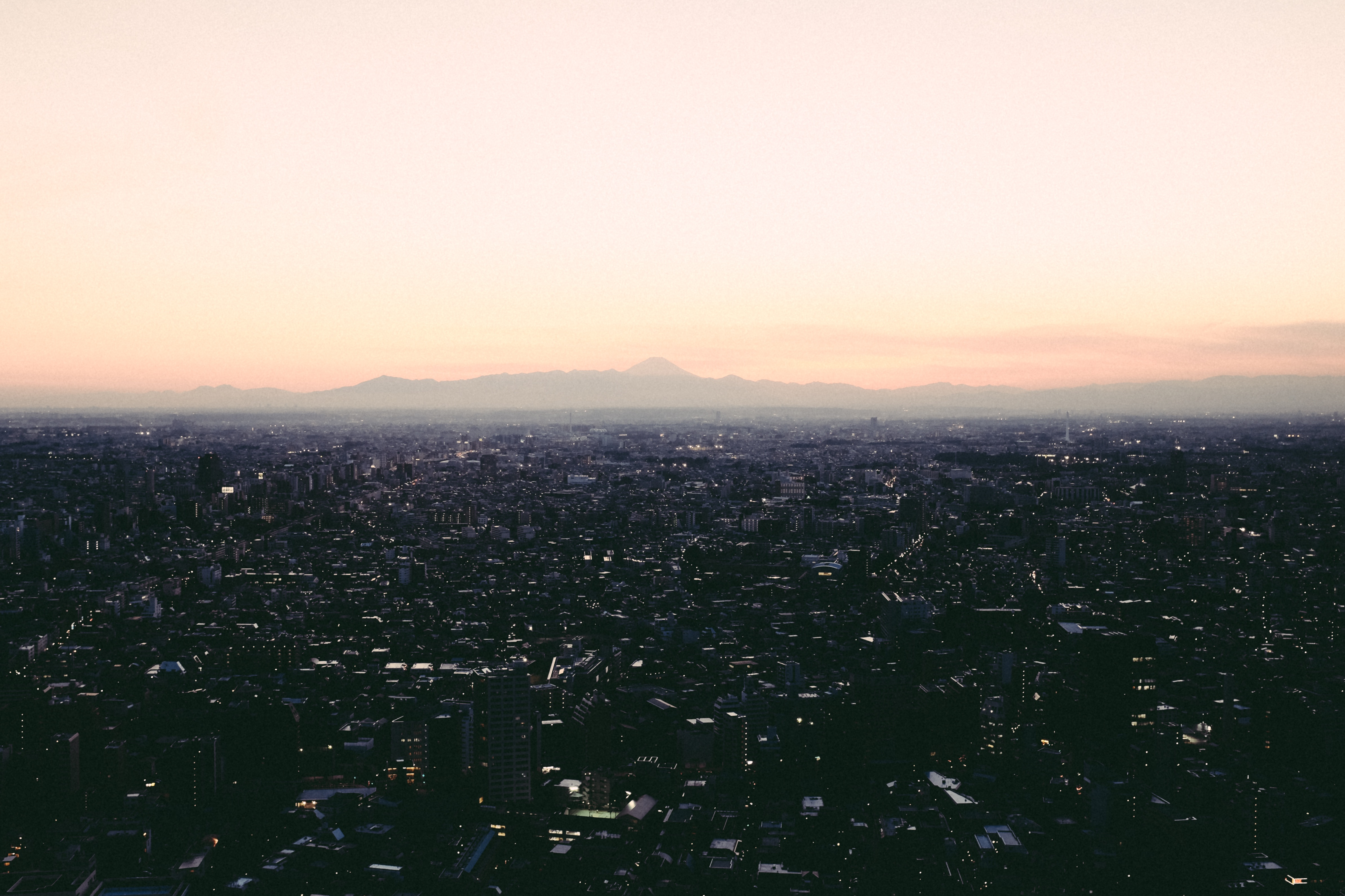Sunrise In Japan, Buildings, City, Engineering, Mountains, HQ Photo