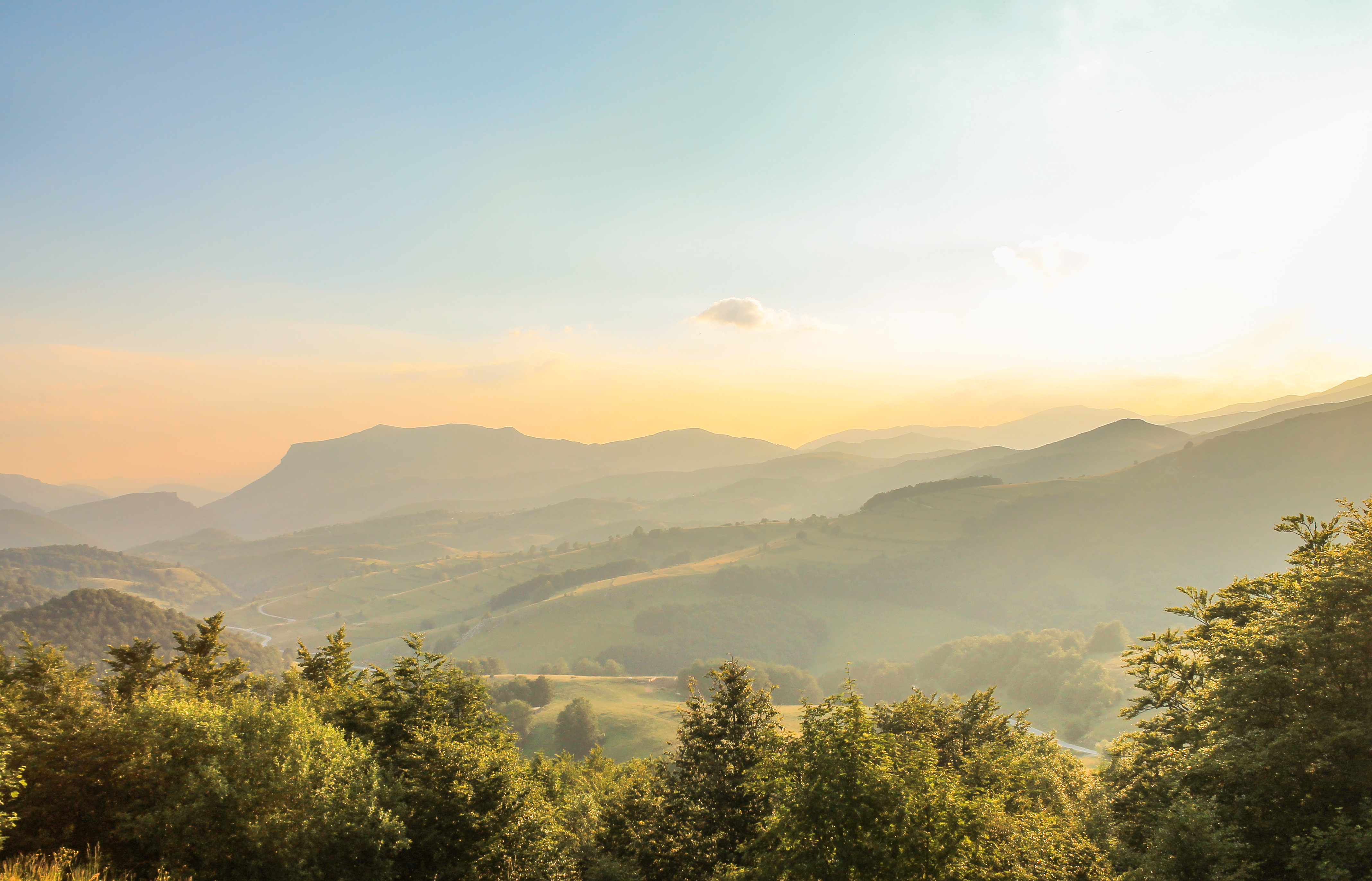 Sunrise in the Mountains, Outdoor, Road, Nature, Natural, HQ Photo