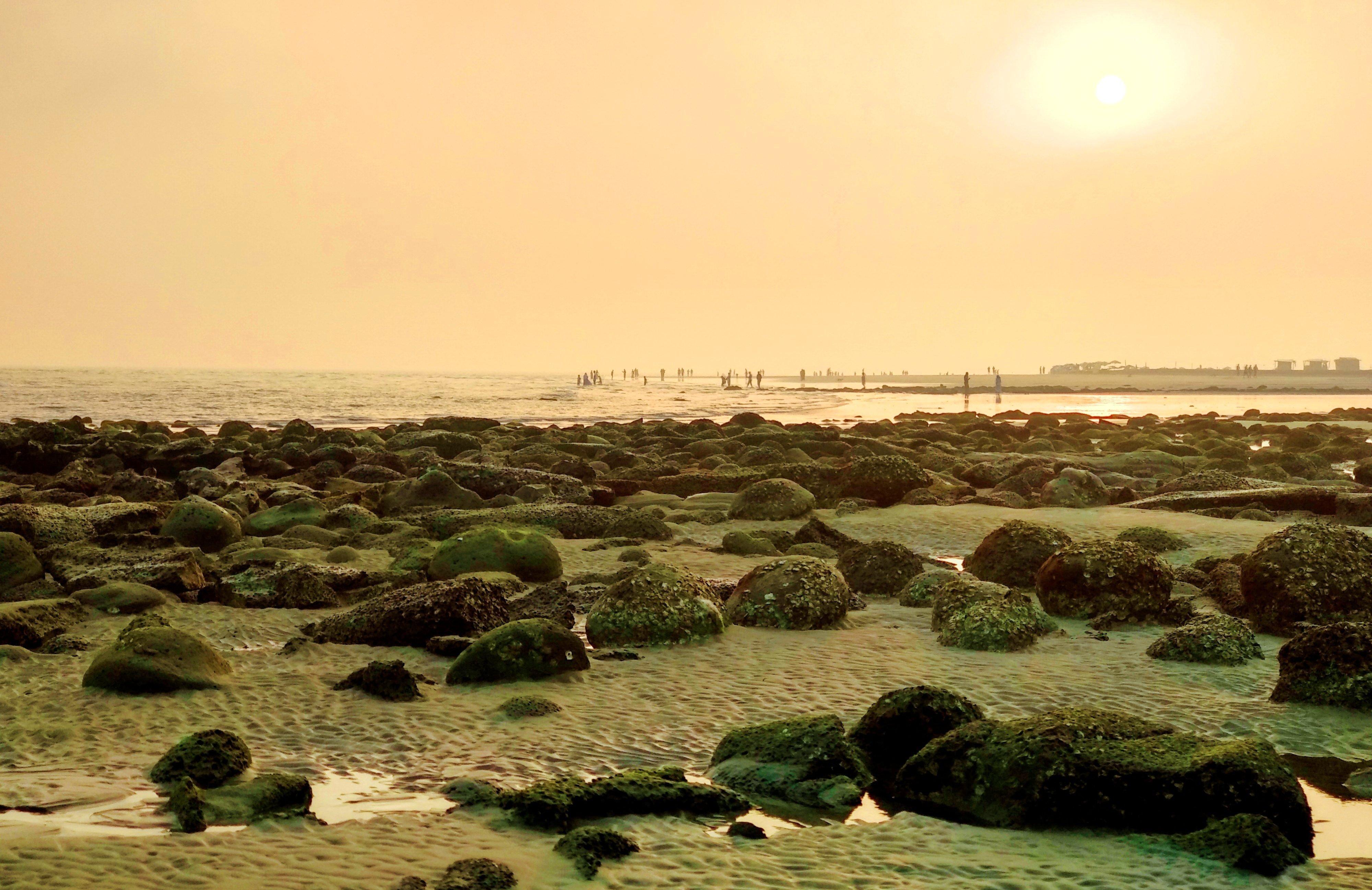 Sunrise on saint martin's sea beach photo