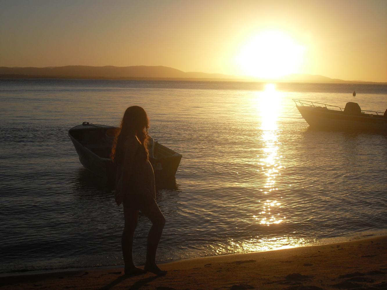 Sunset, Beach, Boats, Girl, Landscape, HQ Photo