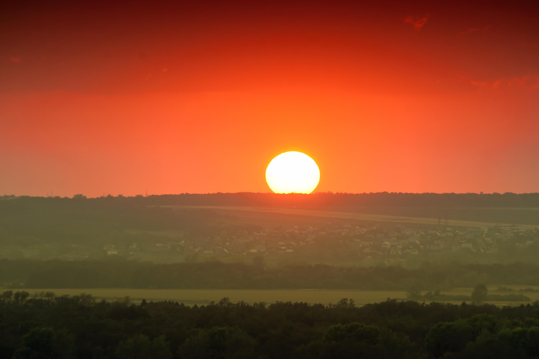 Sunset, Dusk, Horizon, Light, Orange, HQ Photo