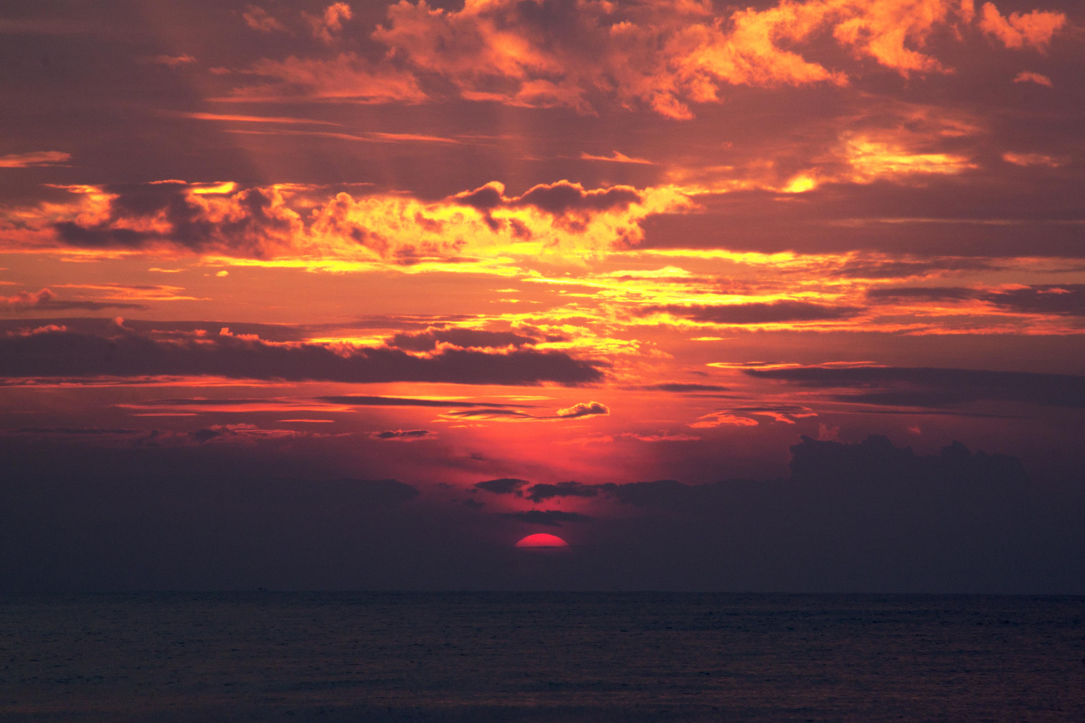 Free Images : beach, sea, water, ocean, horizon, cloud, sun, sunrise ...