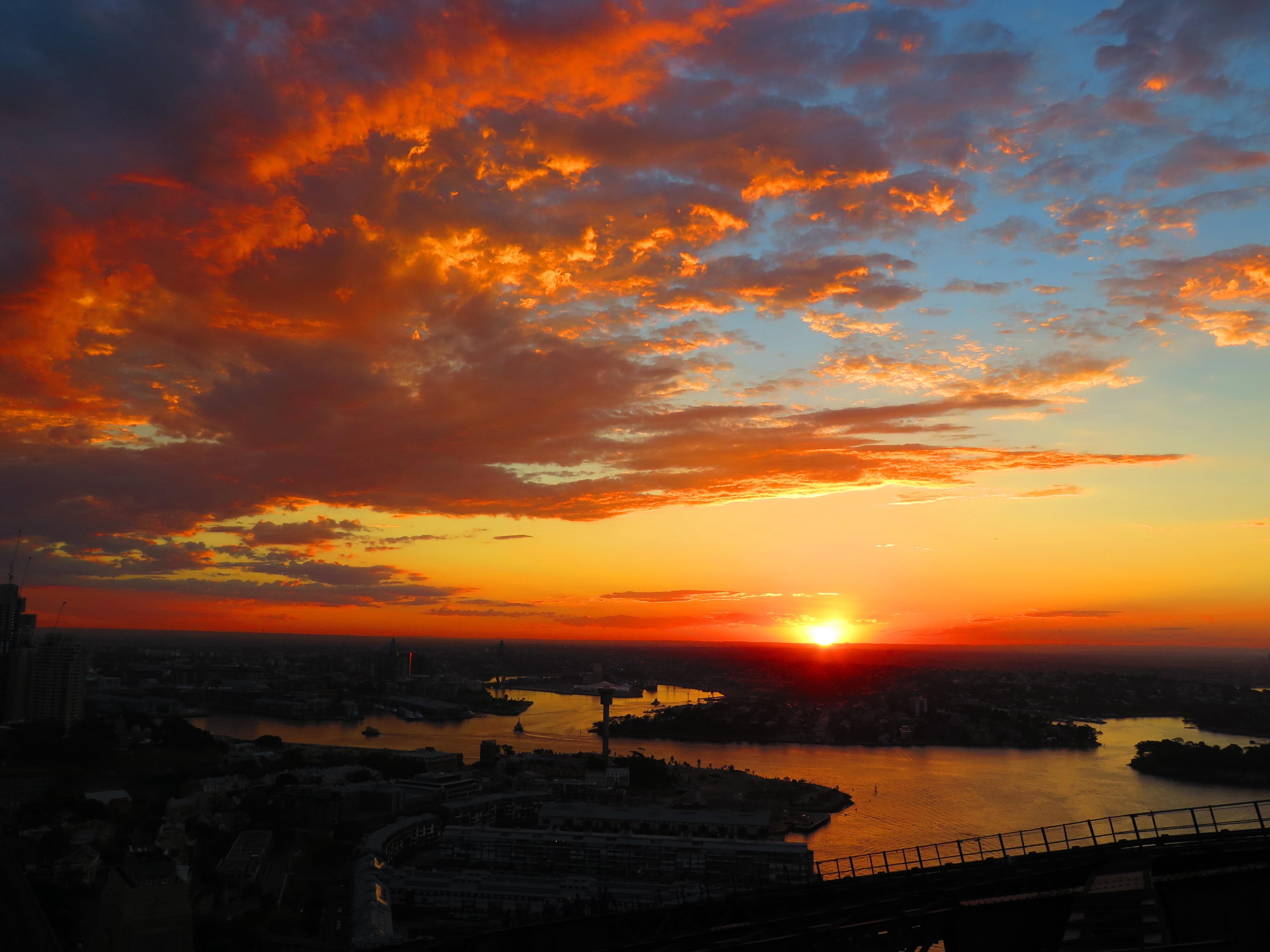 Sunset in Sydney from Harbour BridgeBridge Climb Sydney