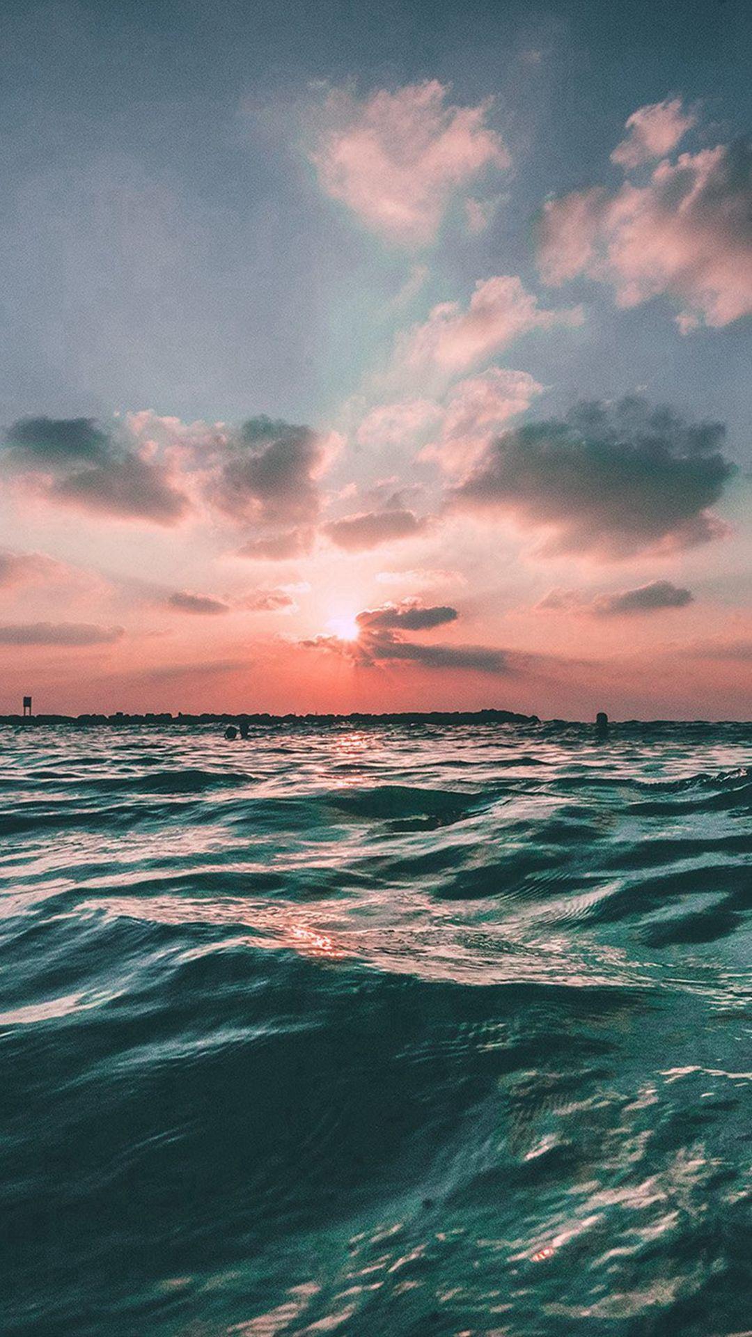 Sunset Sea Sky Ocean Summer Green Water Nature #iPhone #6 #plus ...