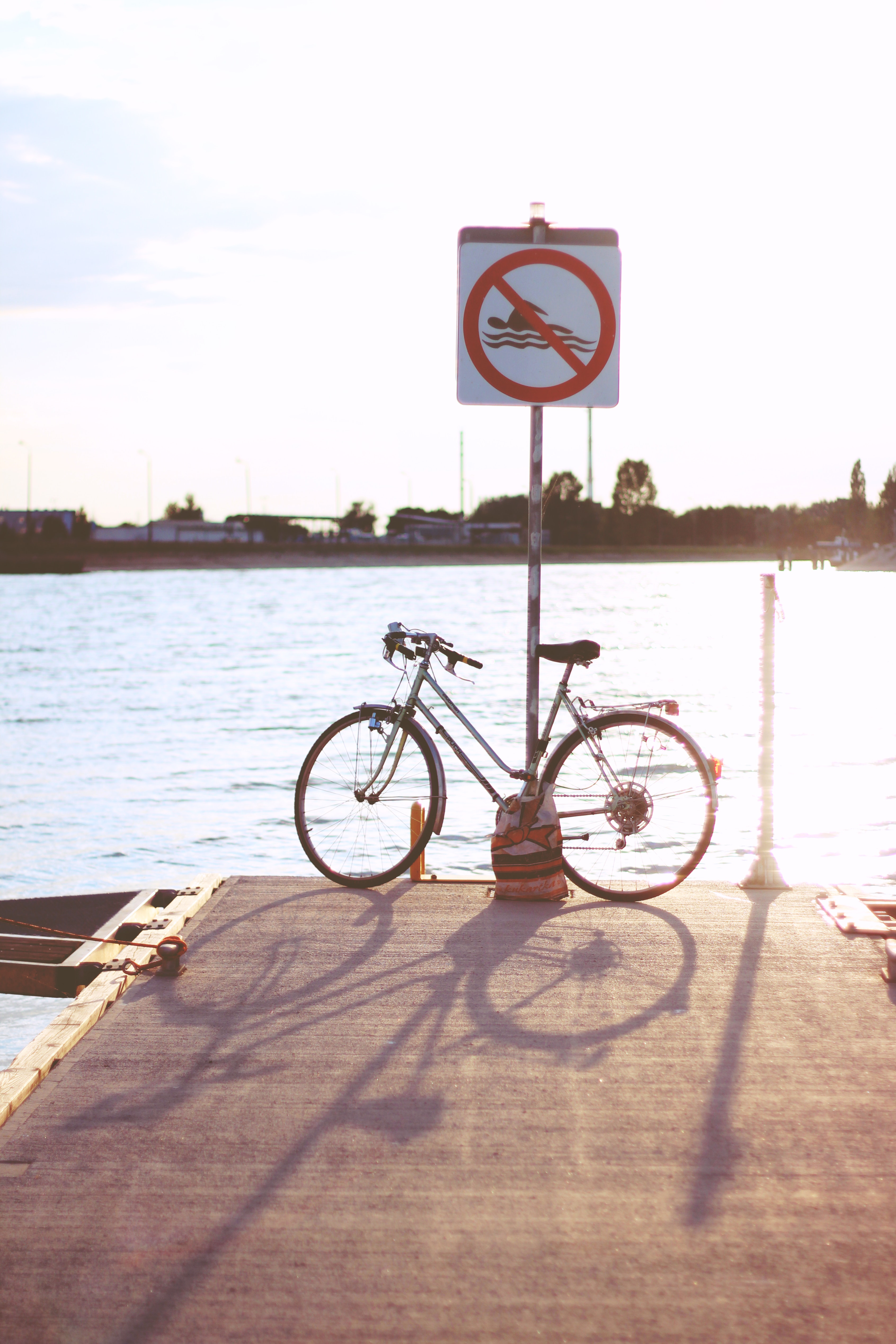 Sunset & bicycle, Beach, Road, Water, Vehicle, HQ Photo
