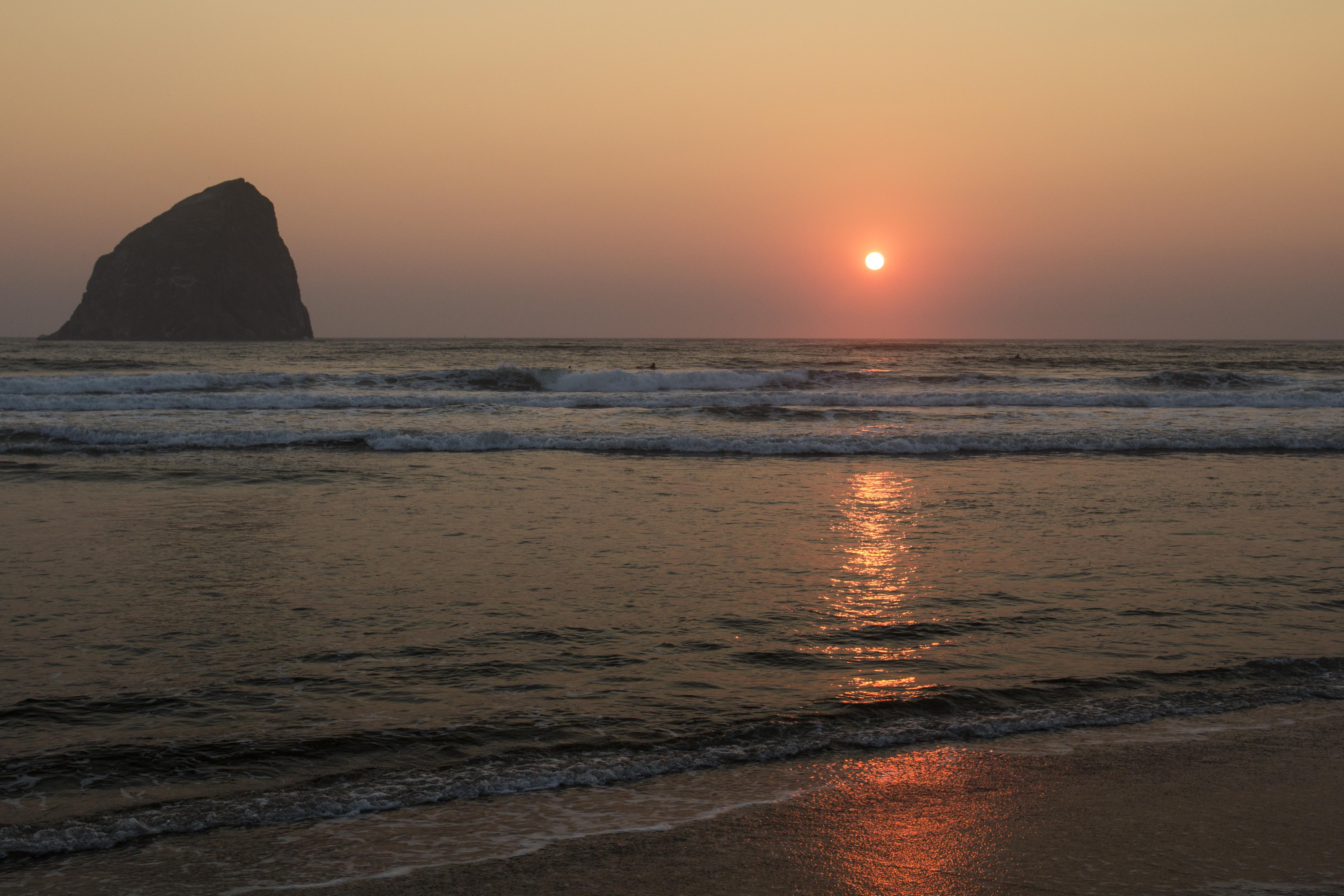 Sunset at Haystack Rock, Cape Kiwanda, Oregon, Beach, Cape, Coast, Haystack, HQ Photo
