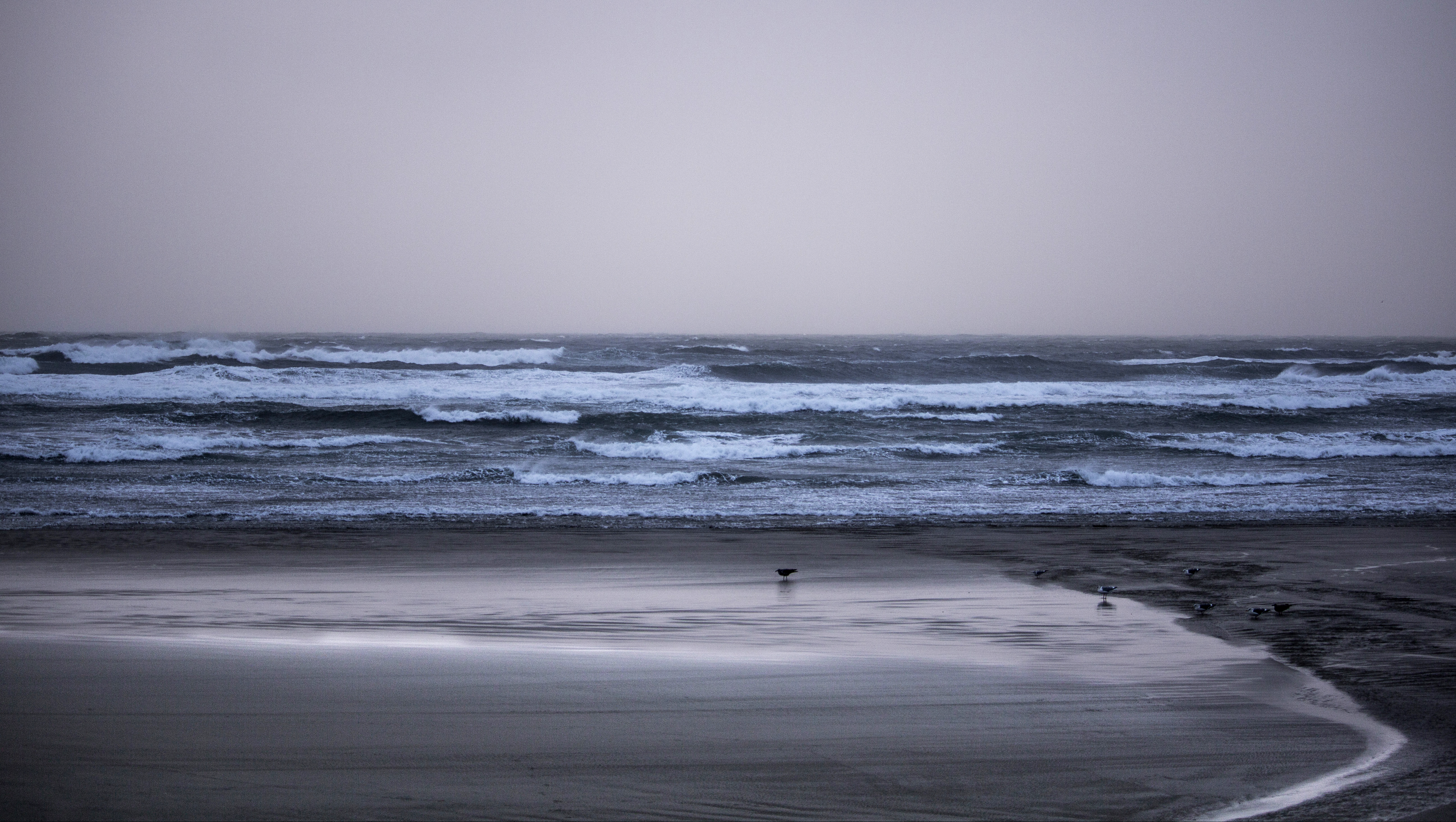 Sunset at nye beach, oregon photo
