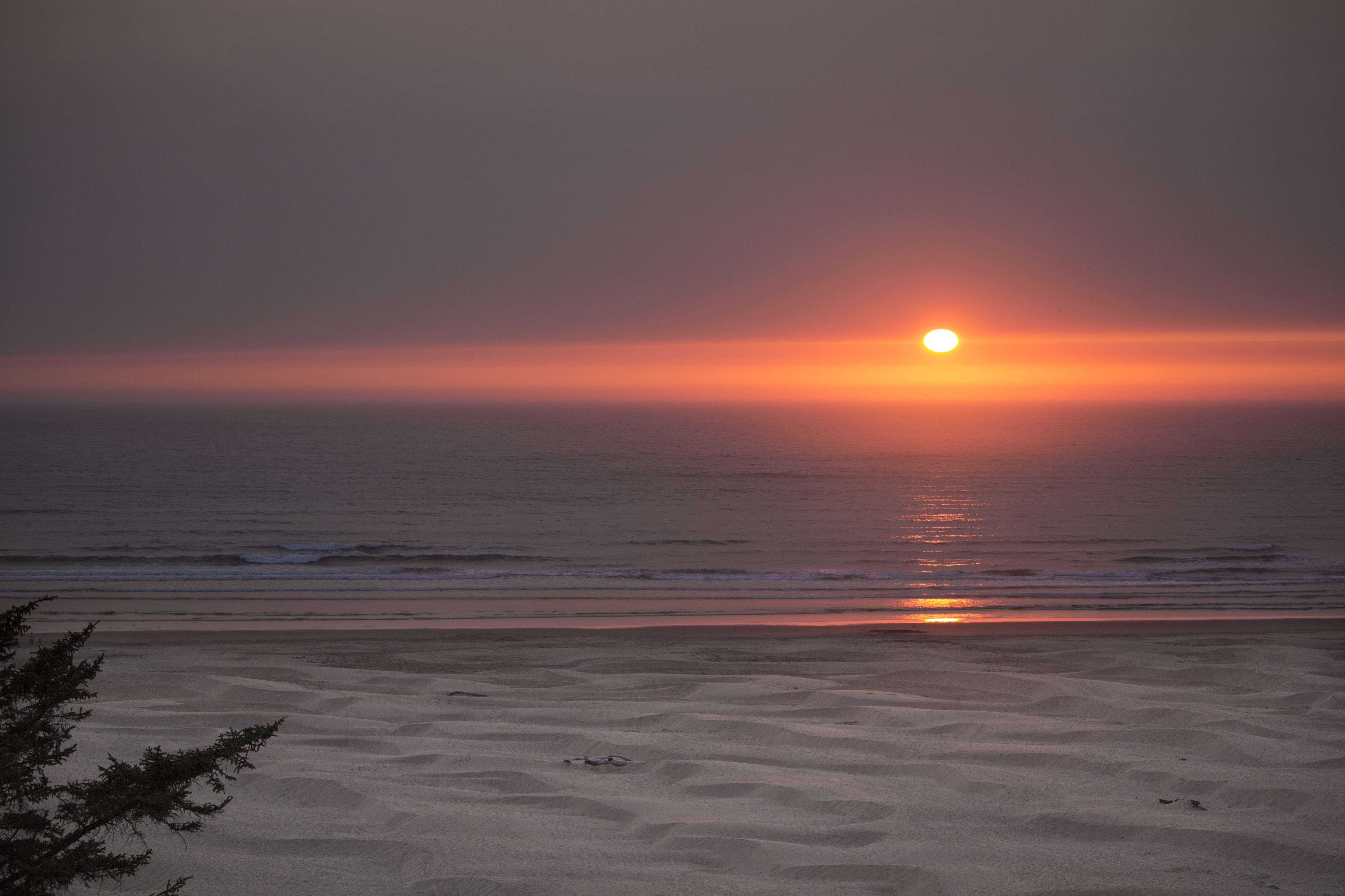 Sunset at the coast, Oregon, Beach, Red, Water, Sunset, HQ Photo