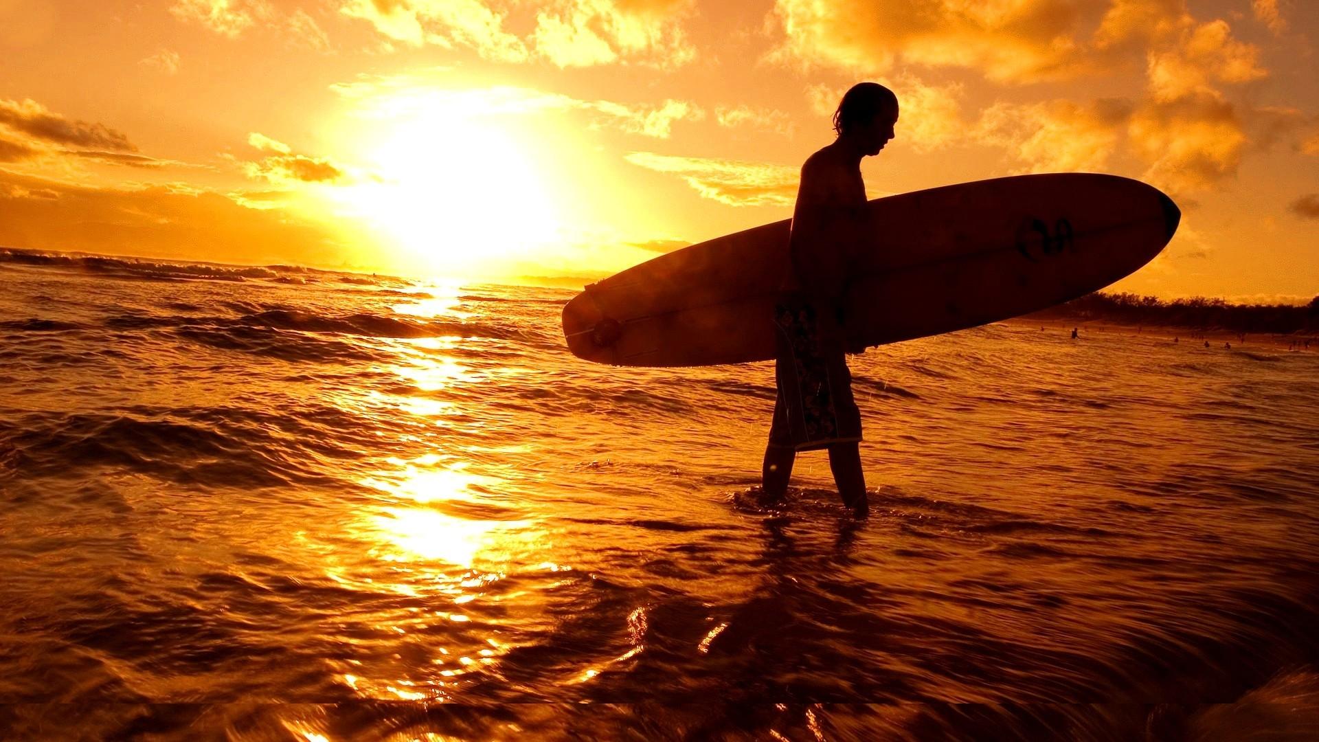 Sunsets: Surfer Sunset Beach Surfers Sun Tropical Sea Surfing Ocean ...