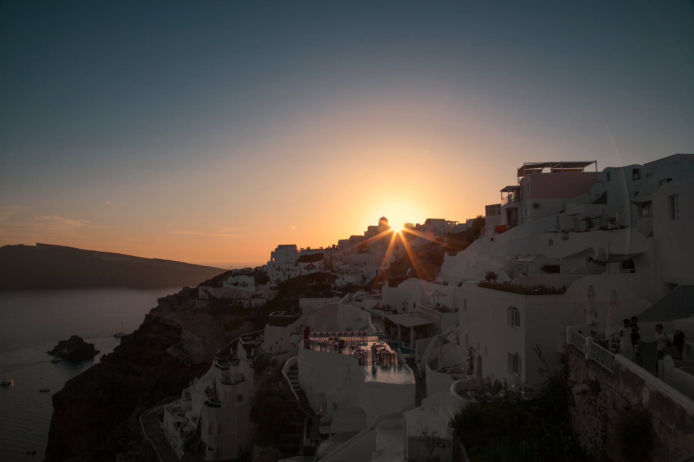 Sunset behind the town photo