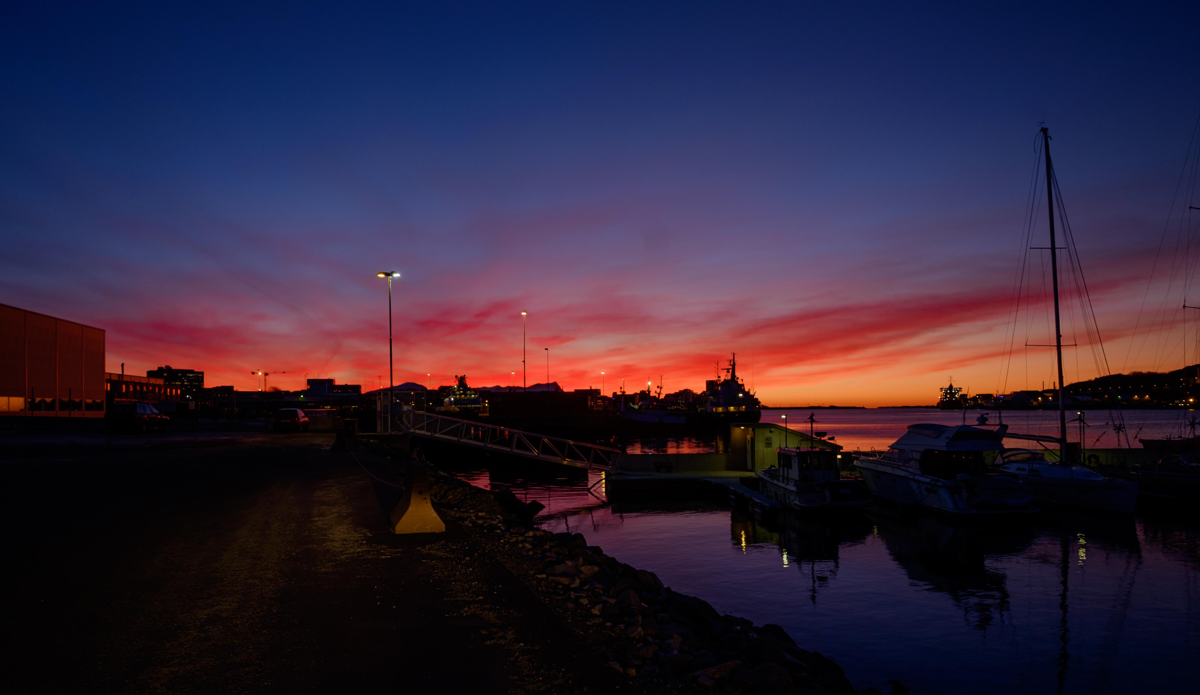 Sunset, Bodø Havn Jan 15, Architecture, Bridge, Dusk, Fujifilm, HQ Photo
