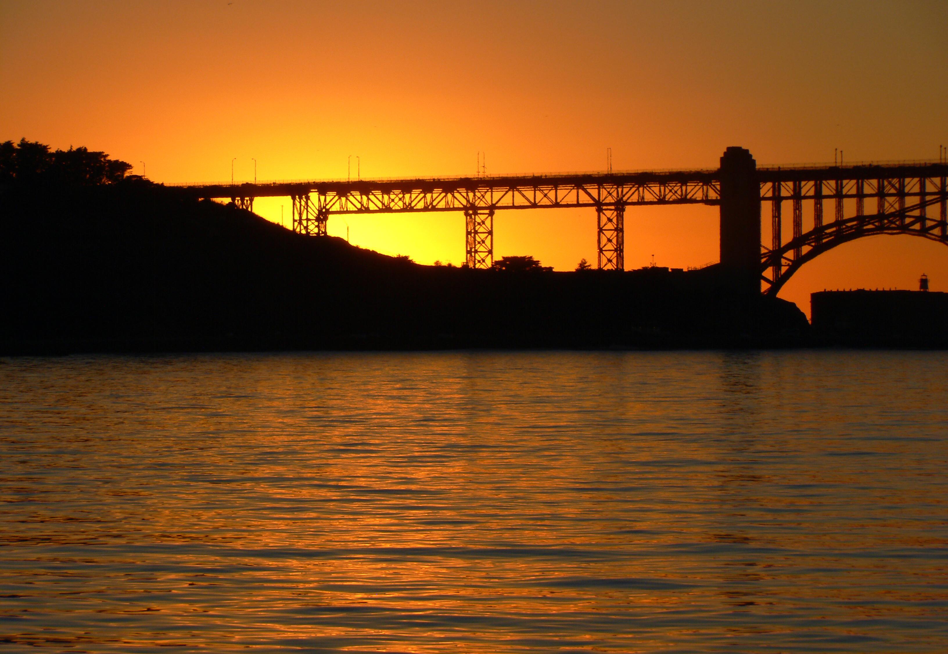 Sunset golden gate bridge.san francisco. photo