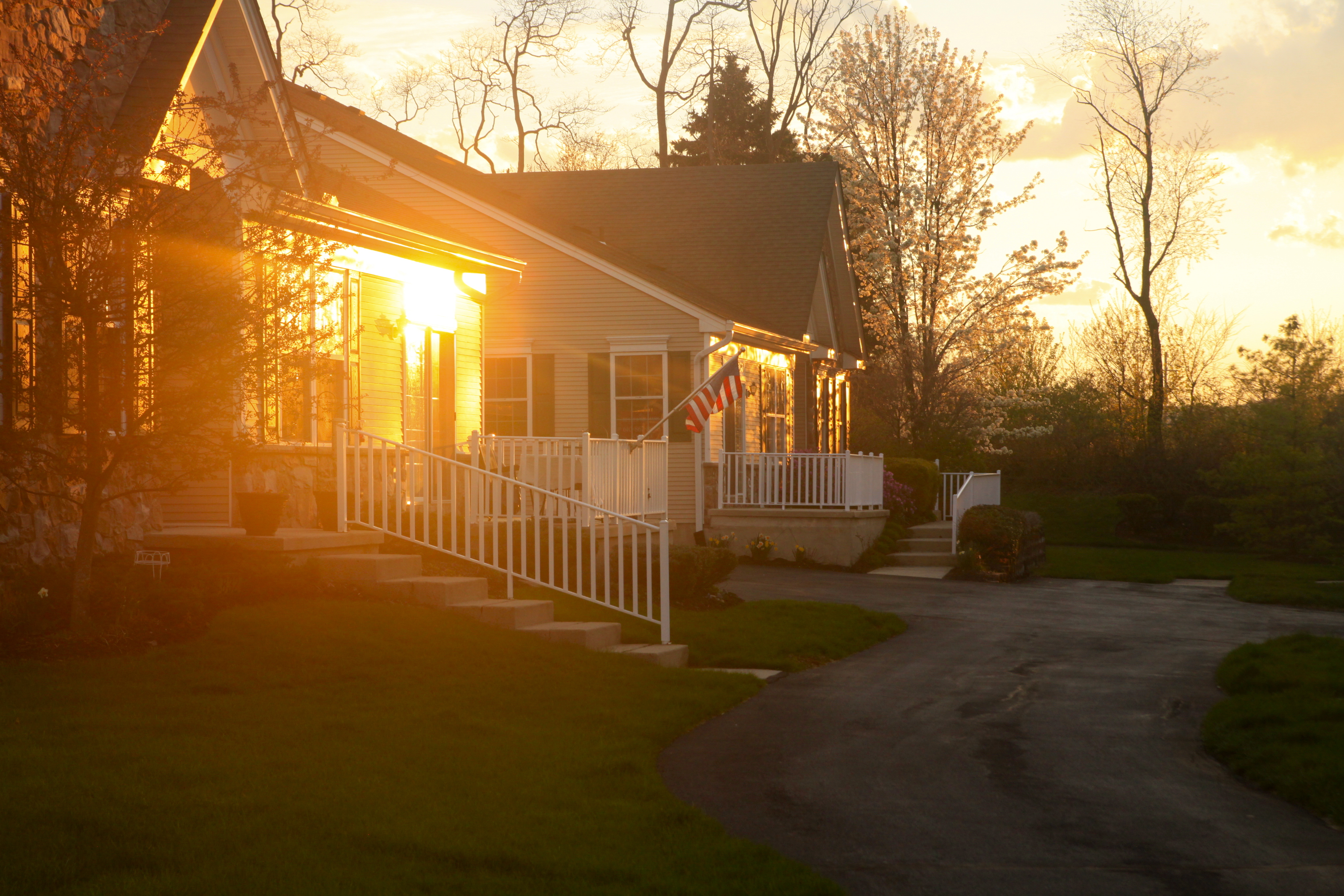 Free photo: sunset (house) - American, Flag, House - Free Download - Jooinn